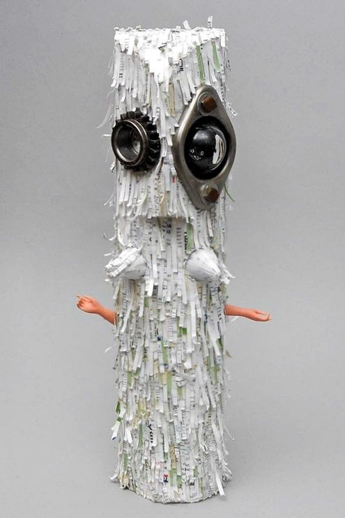 Funny Paper Figure-  Found Object Folk Art Sculpture, Dazzle Artworks, Black Mountain-Asheville NC-003.JPG