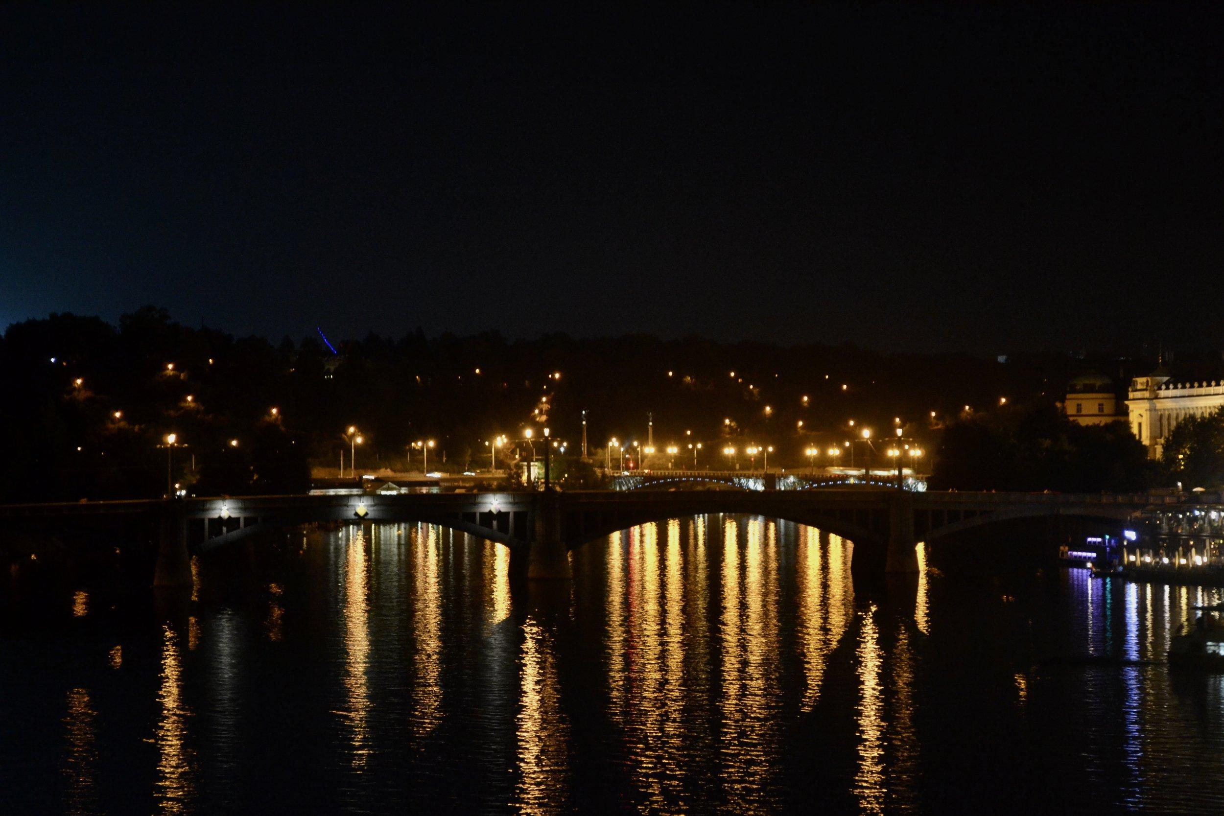 Charles Street Bridge after sunset