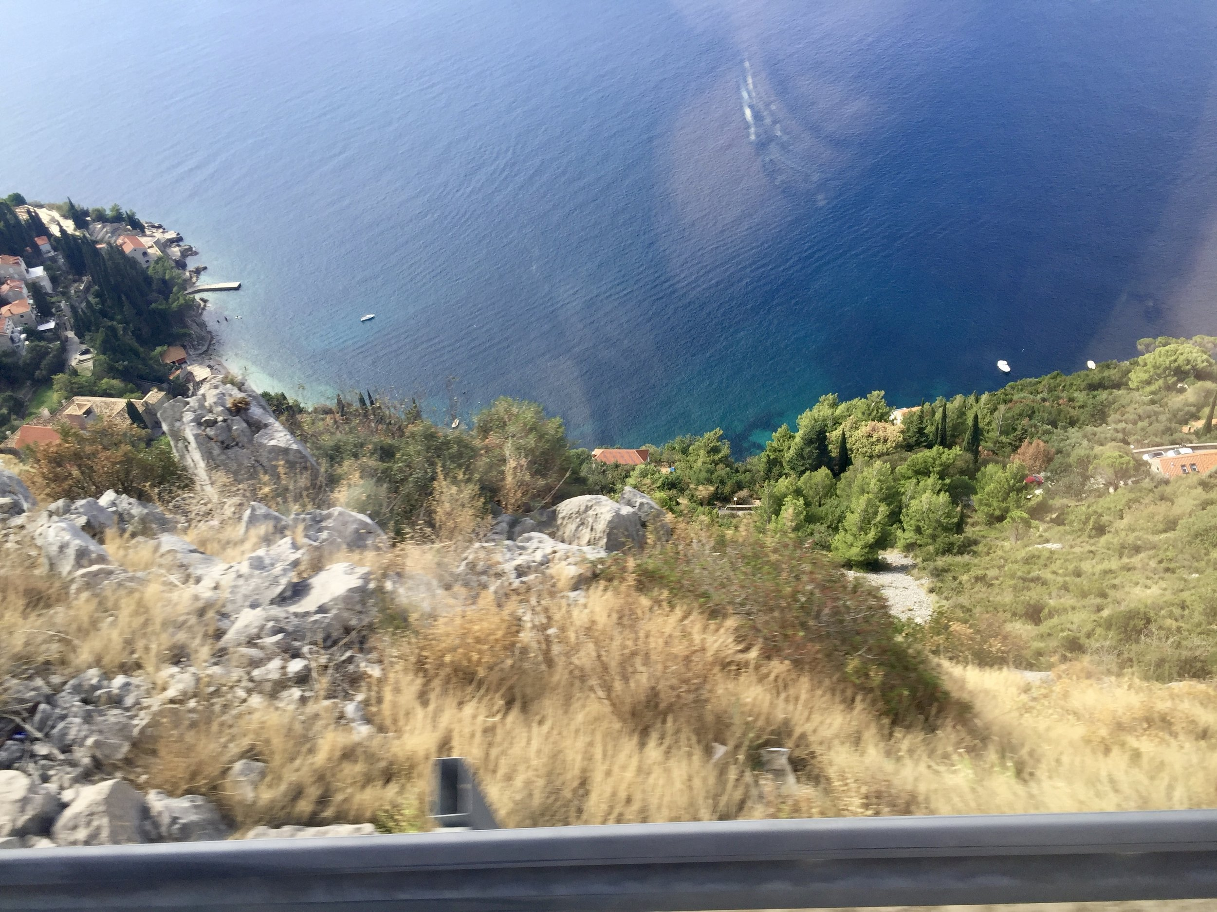 The drop-off down to the water, on our ride from Croatia to Montenegro