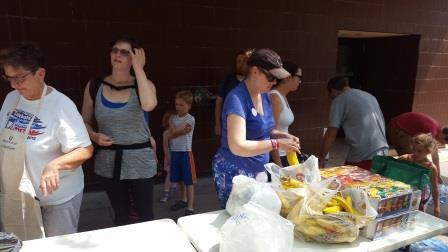Preparing to serve the homeless on State Street.