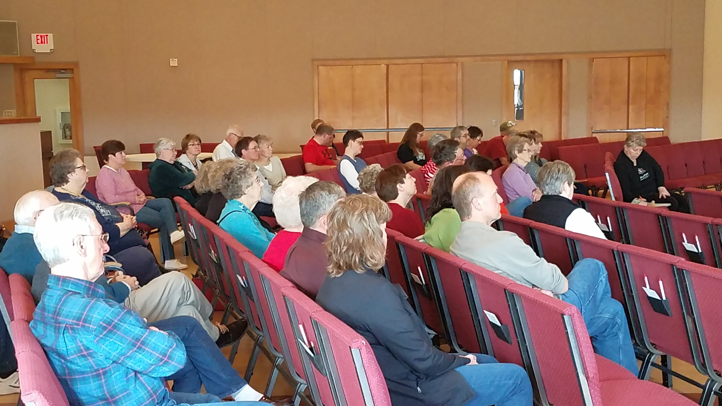 Community and congregation members gathered for an Advanced Directive panel discussion.