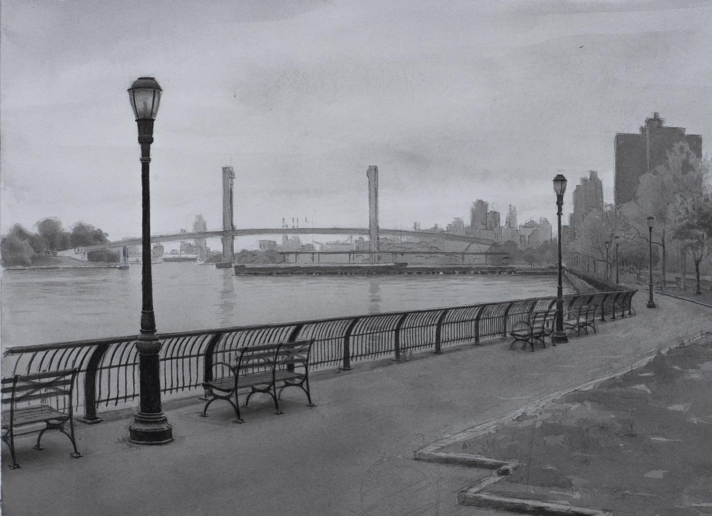 "East River  Acrylic 11x15"""
