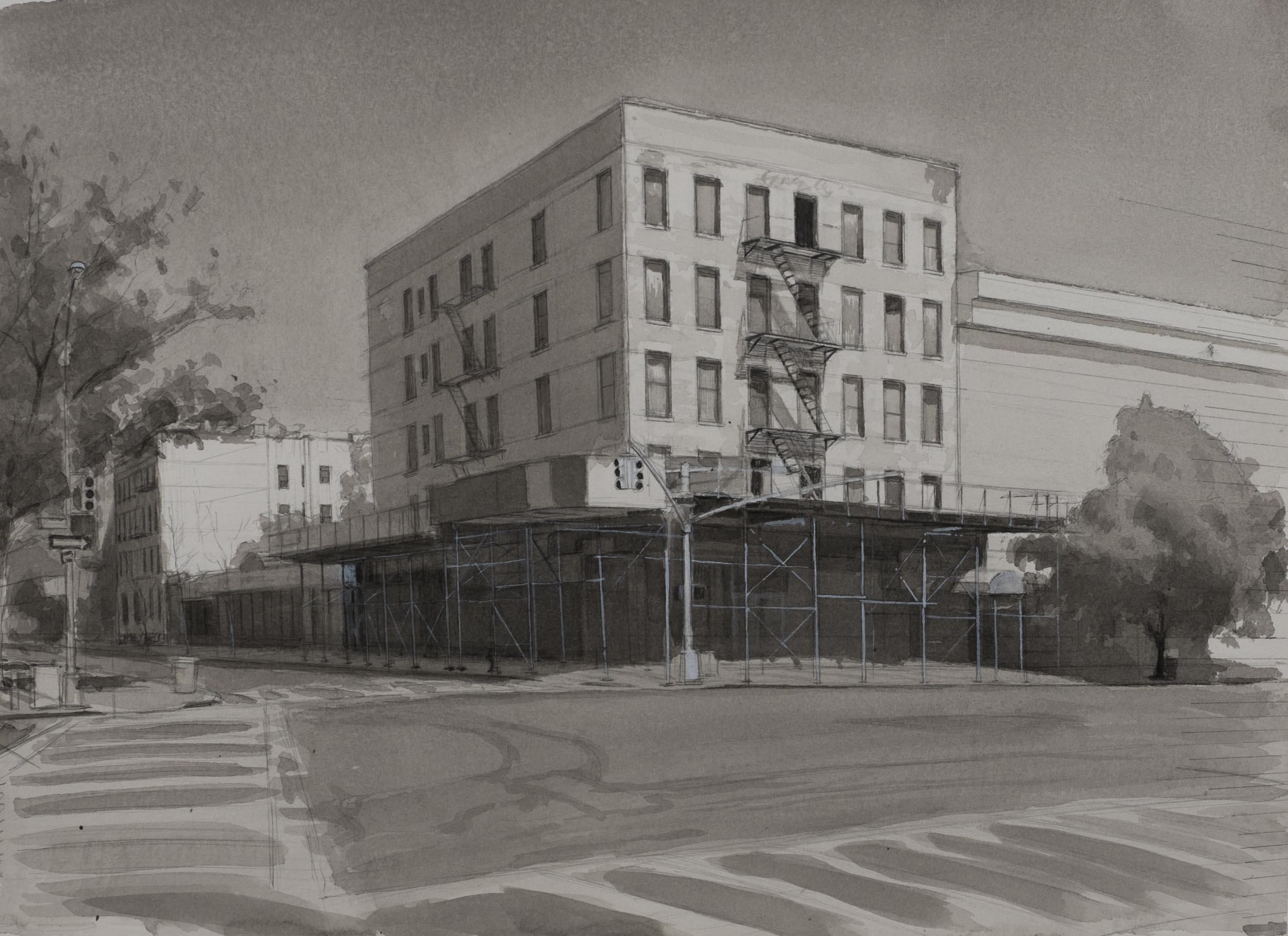 "White Building  Acrylic 11""x15"""