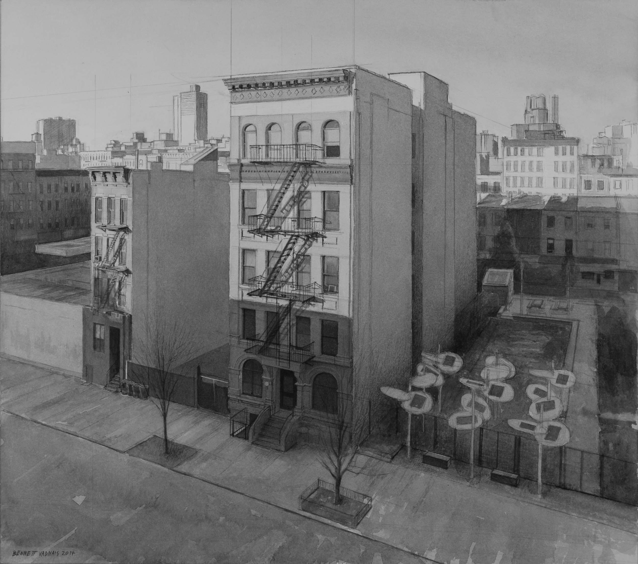"""New York Building  Acrylic 15""""x17"""""""
