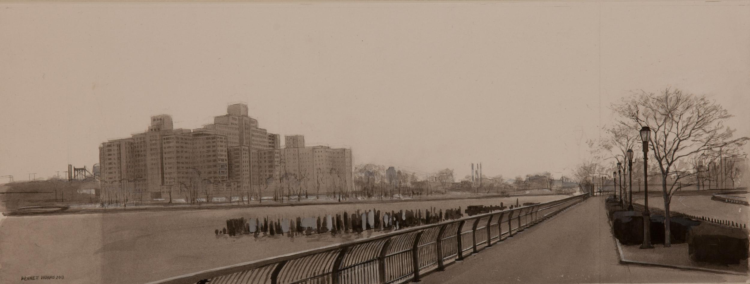 "East River  Acrylic 7""x20"""