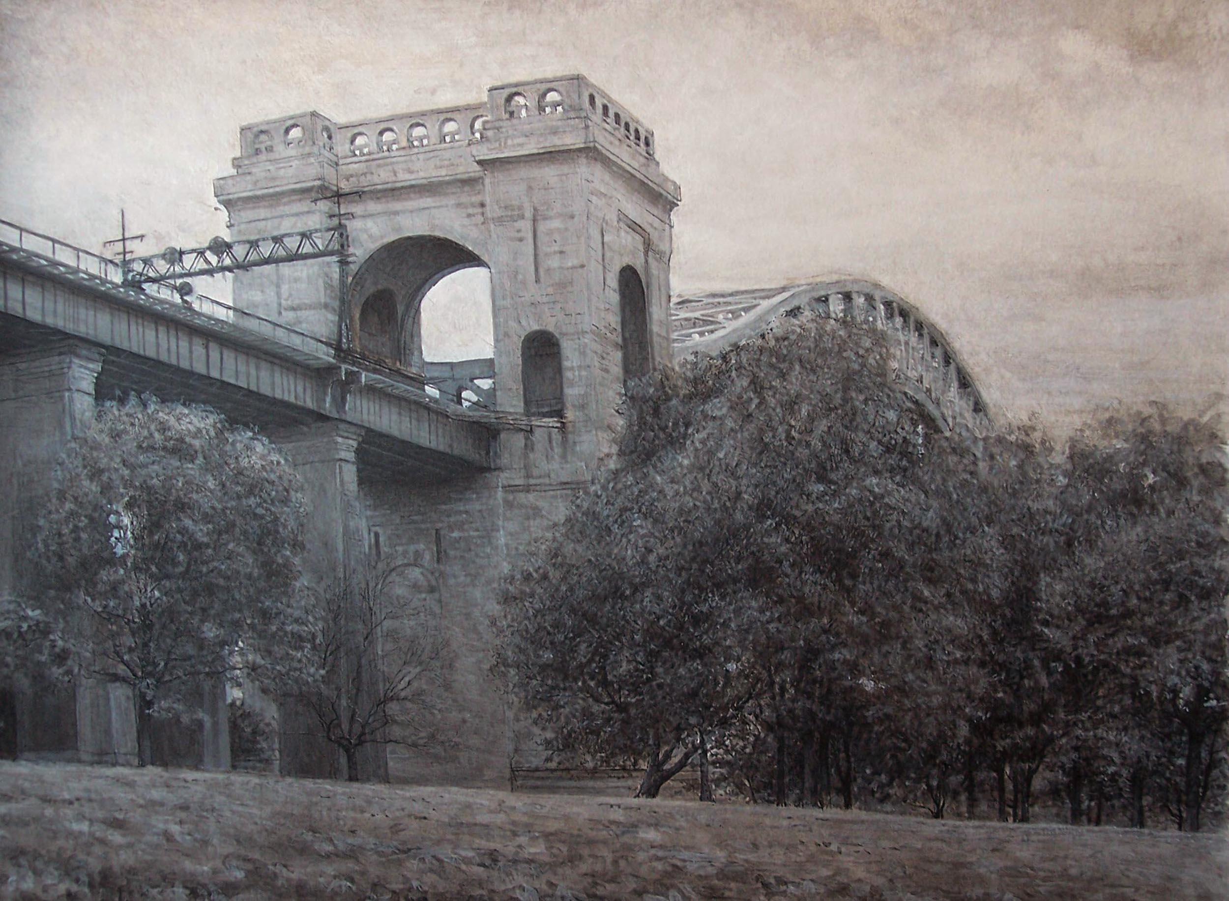 "Hell Gate Bridge  Acrylic 11""X14"""