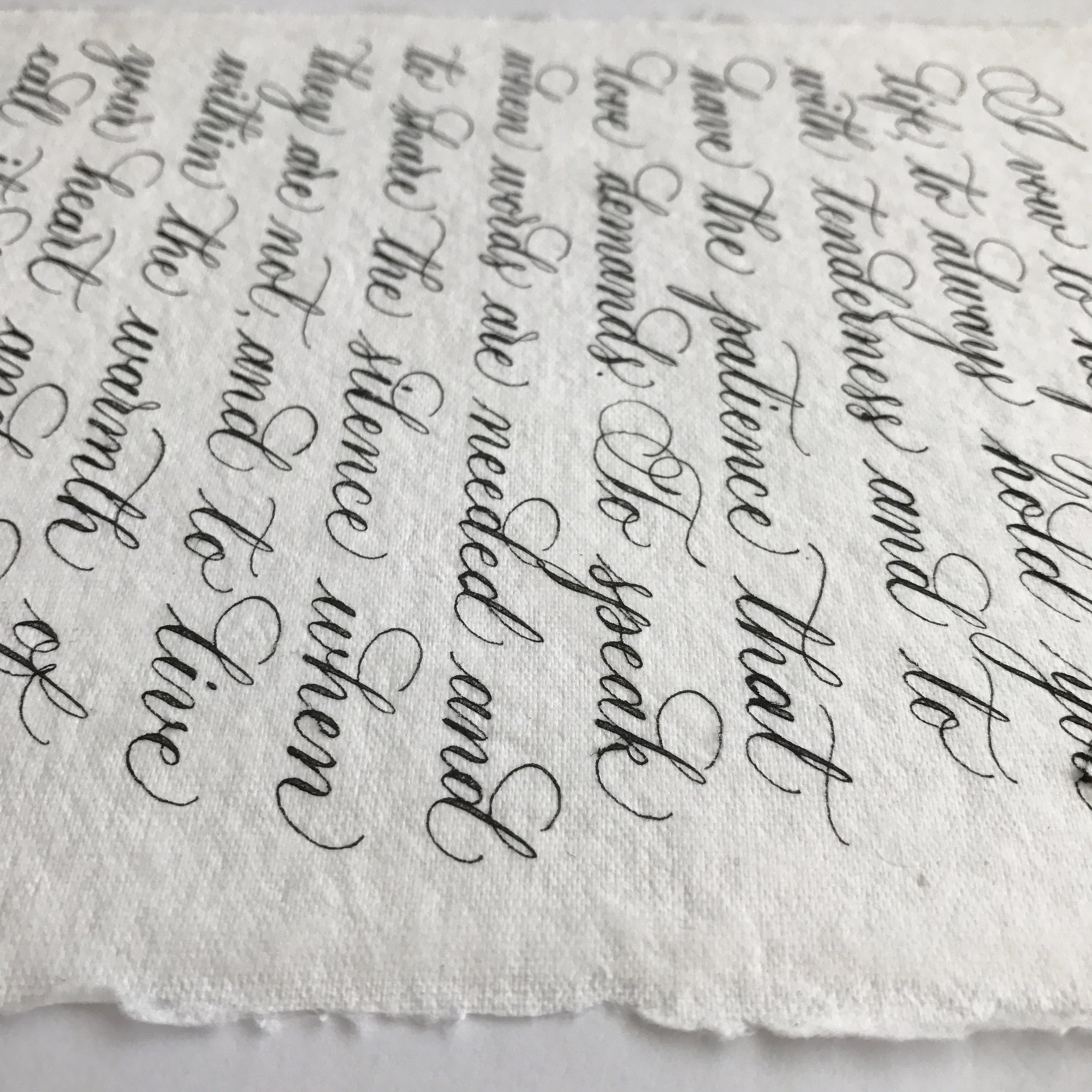 Wedding vows on handmade paper