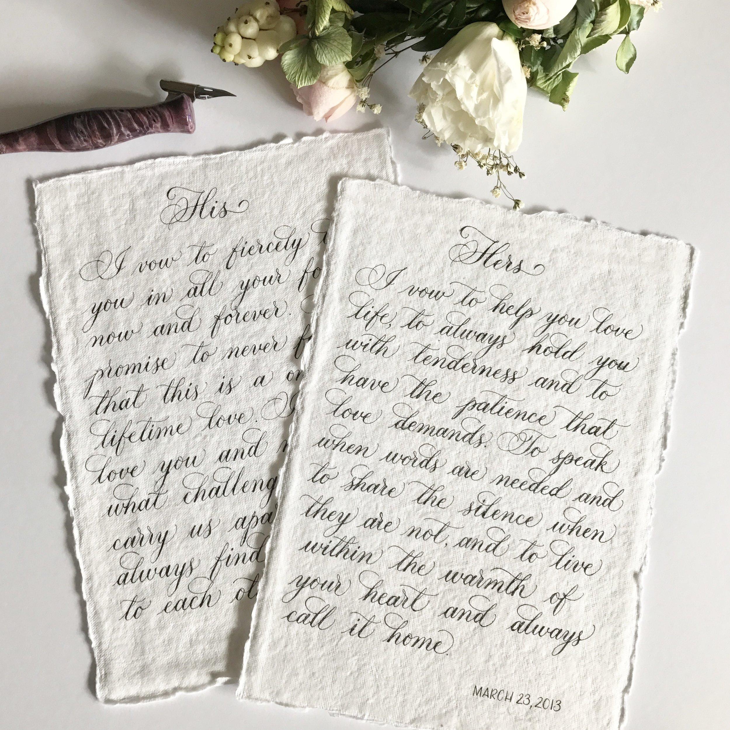 Weddings vows on handmade paper