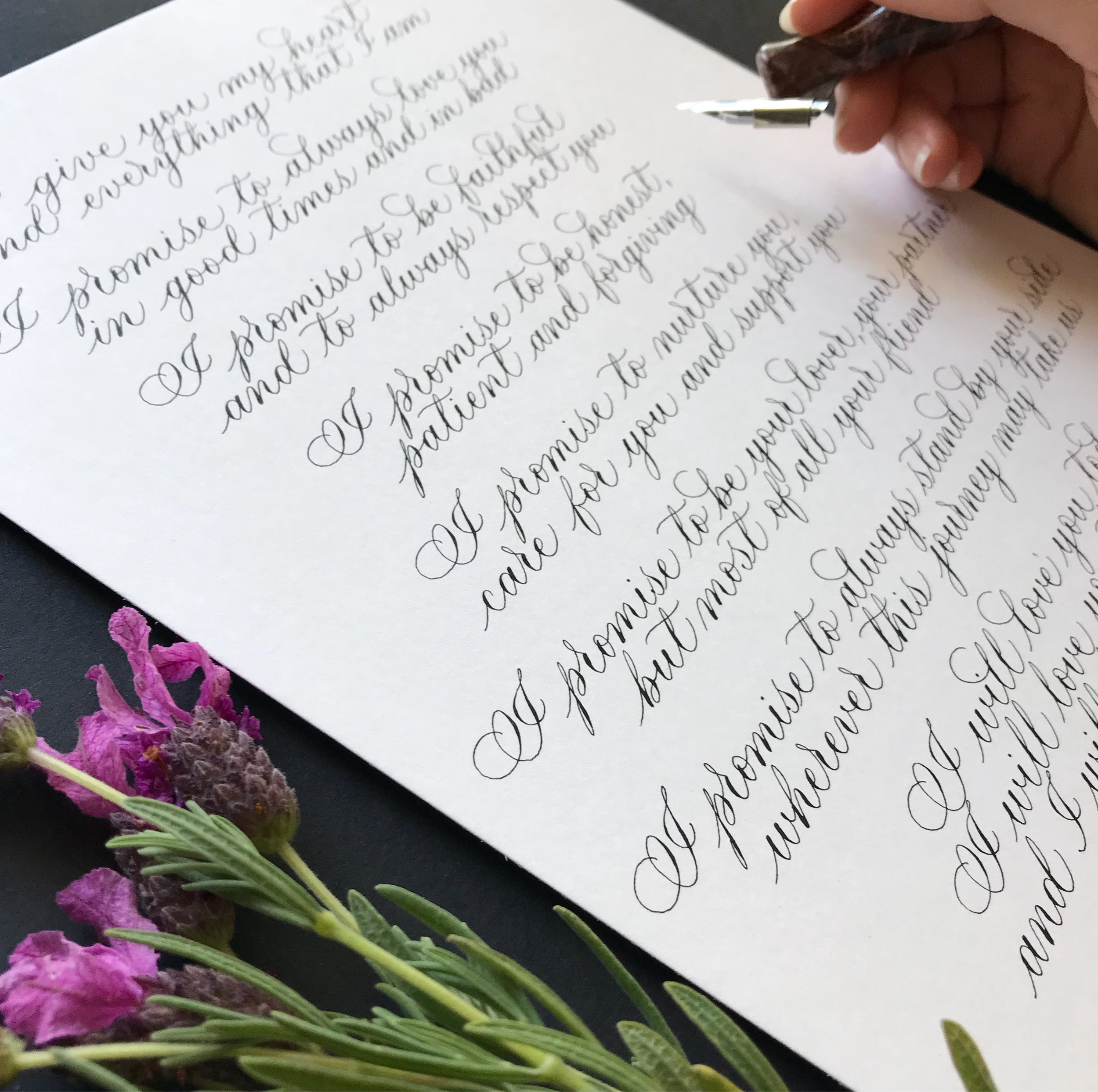 Custom calligraphy - wedding vows