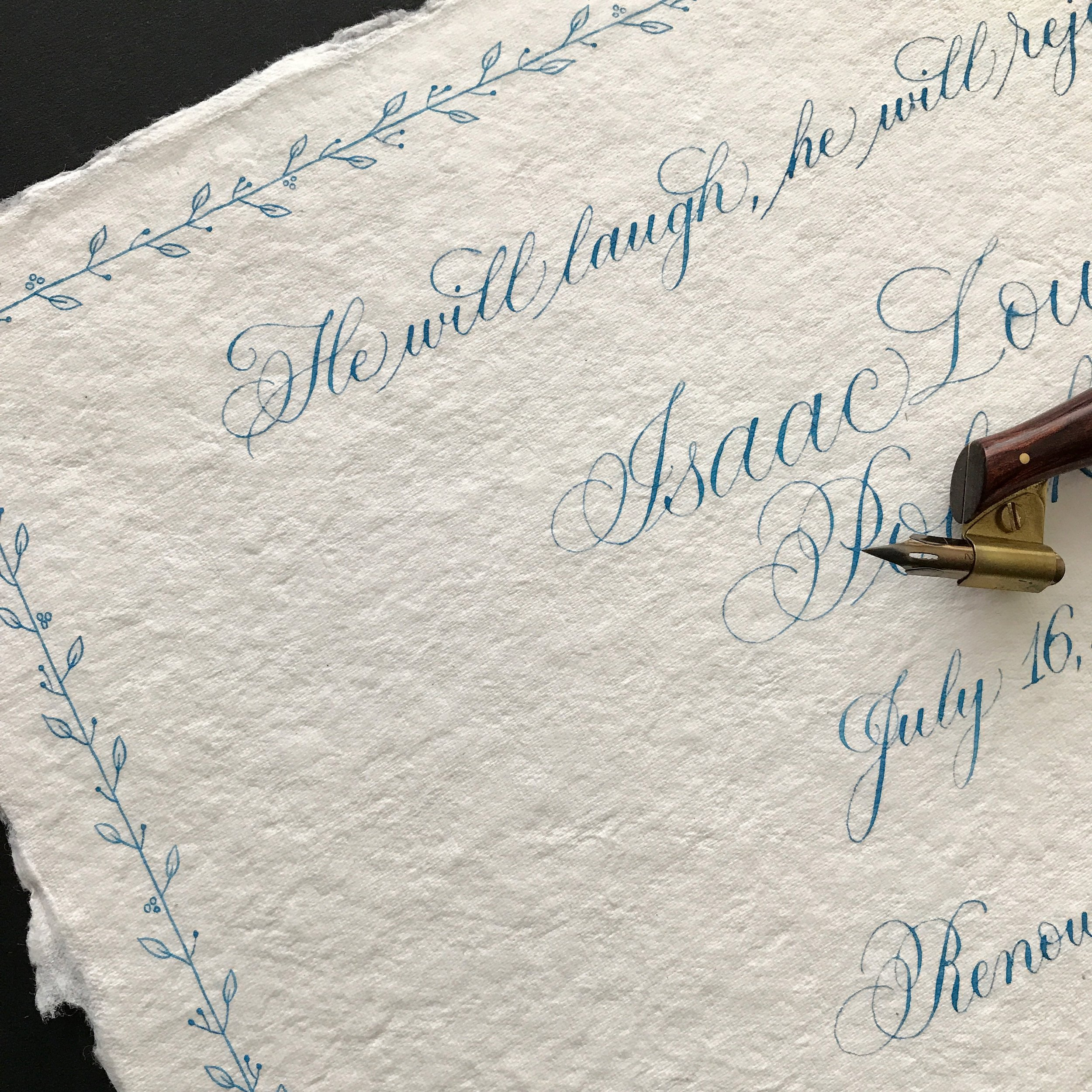 Birth details on handmade paper
