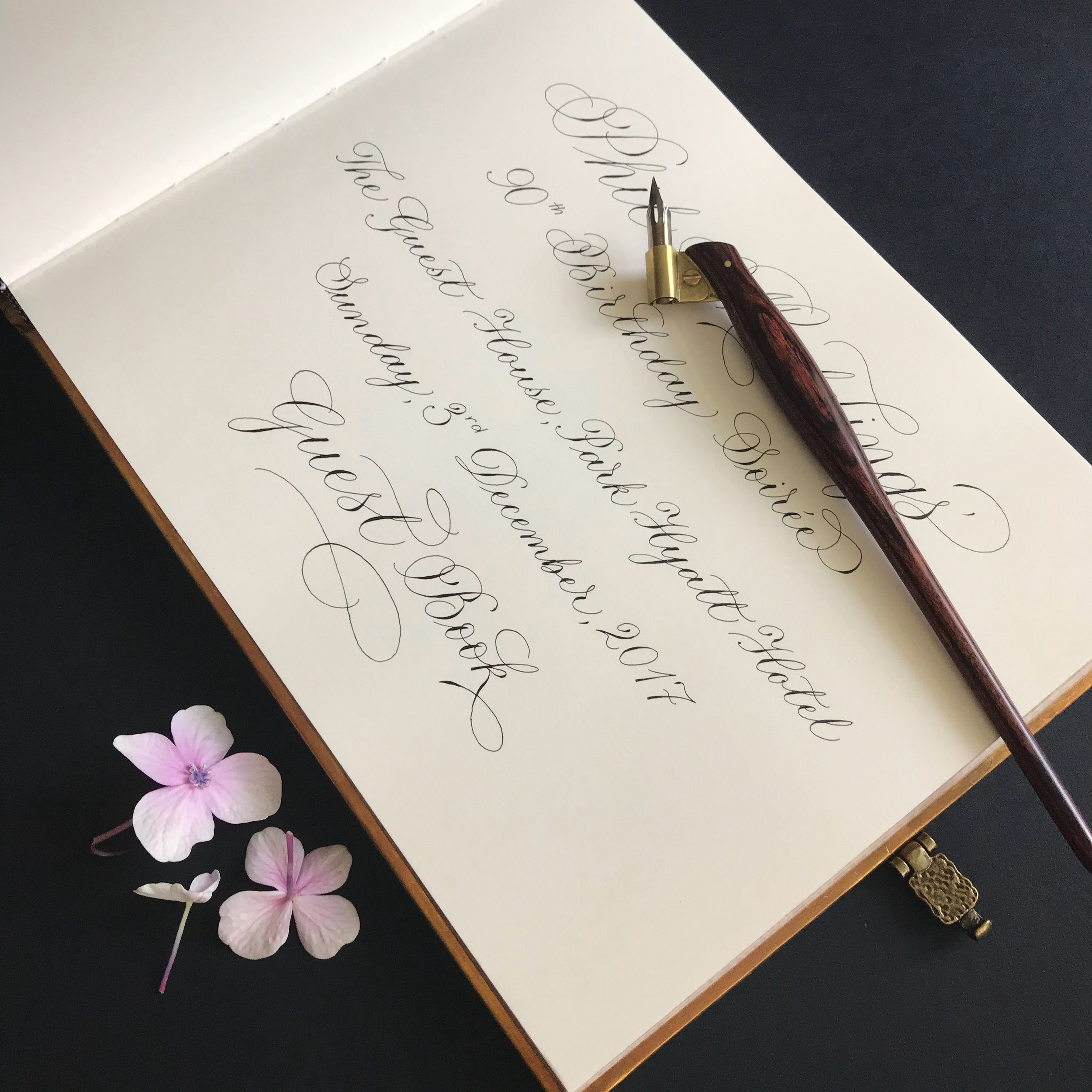 Guest Book calligraphy