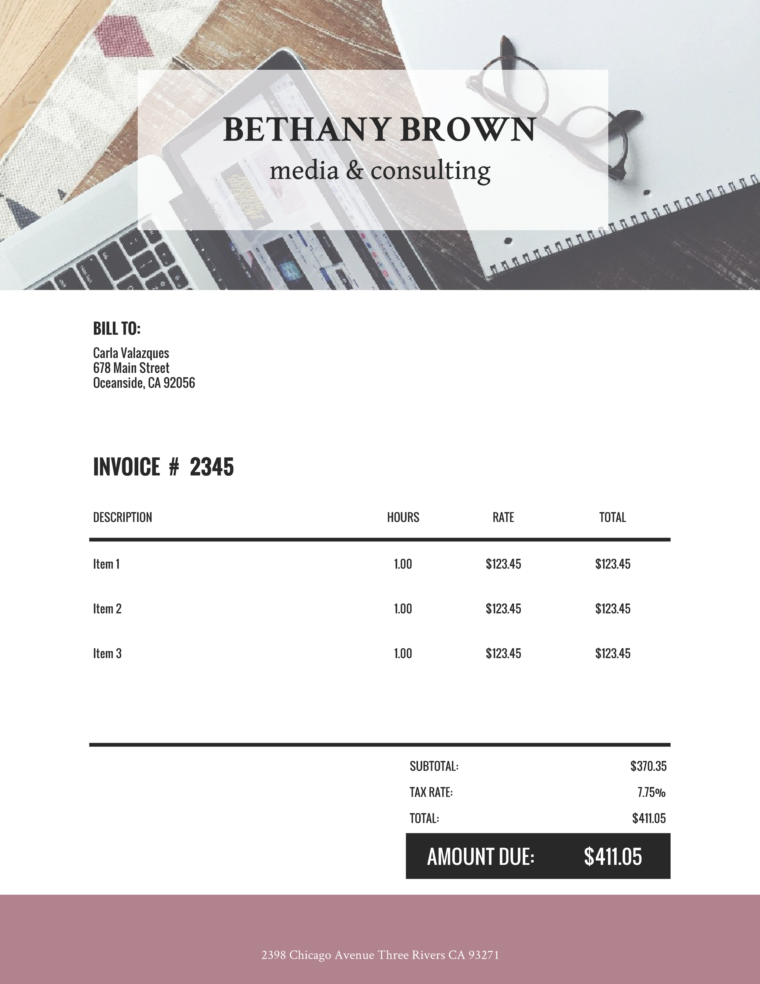 """Bethany Brown Media & Consulting"" Invoice Template from formfarm.io"