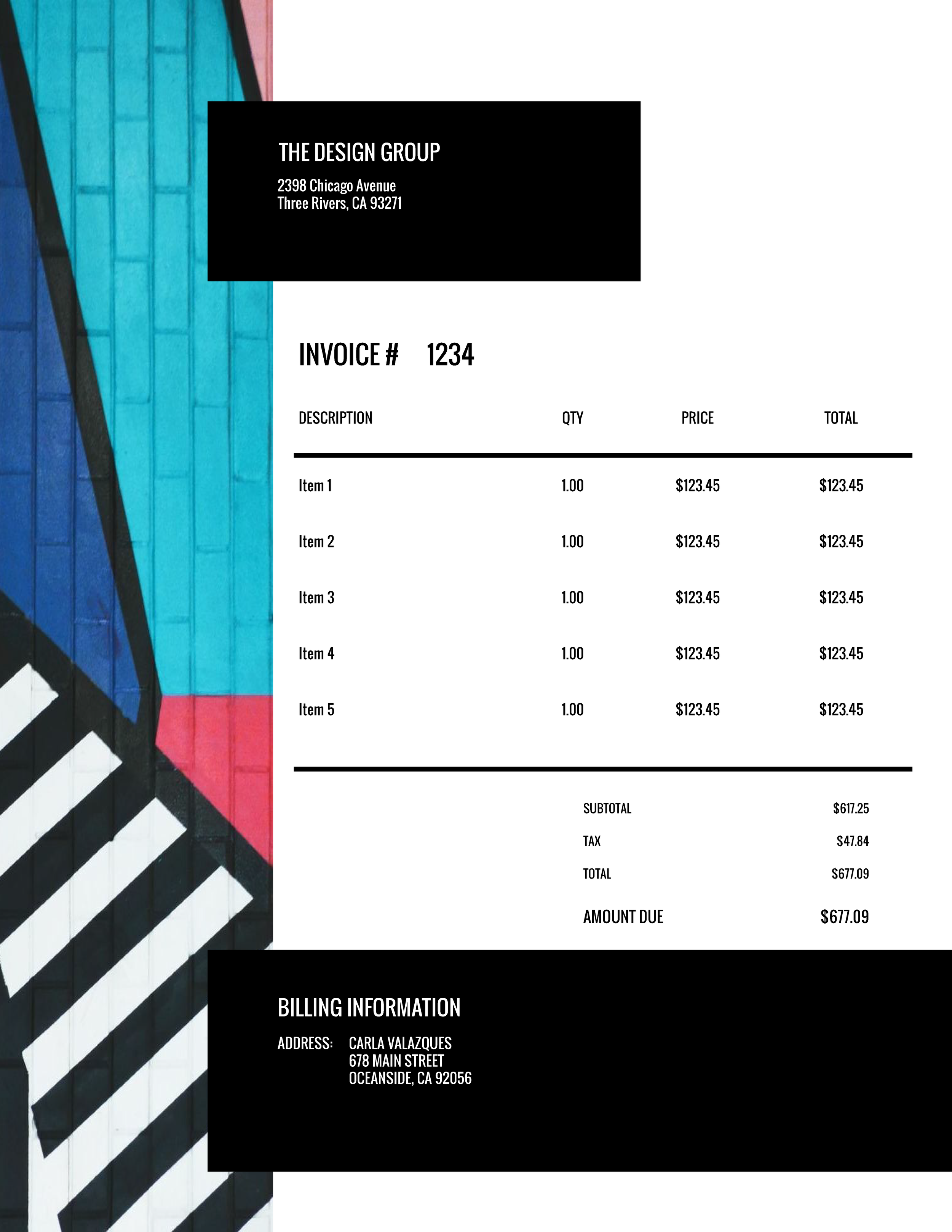 """The Design Group"" Invoice Template from formfarm.io"