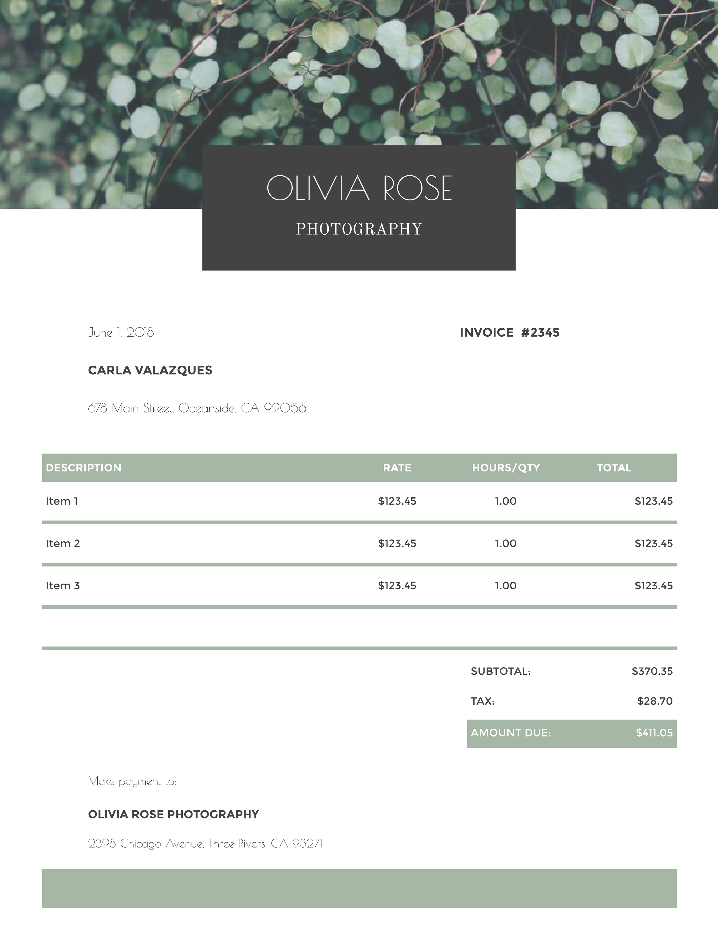 """Olivia Rose Photography"" Invoice Template from formfarm.io"