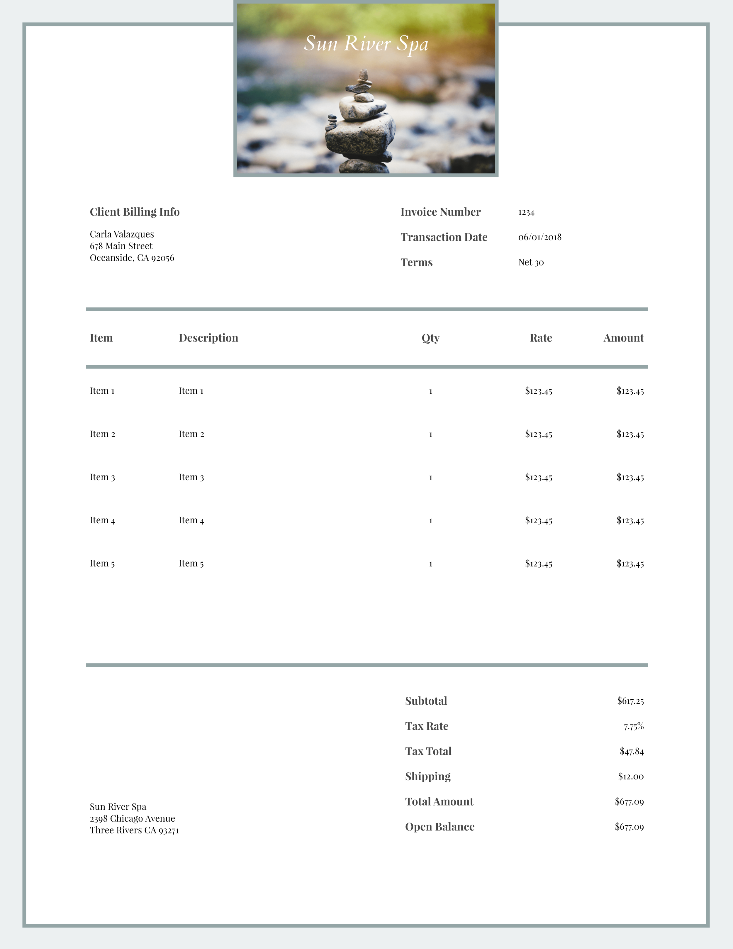 """Sun River Spa"" Invoice Template from formfarm.io"