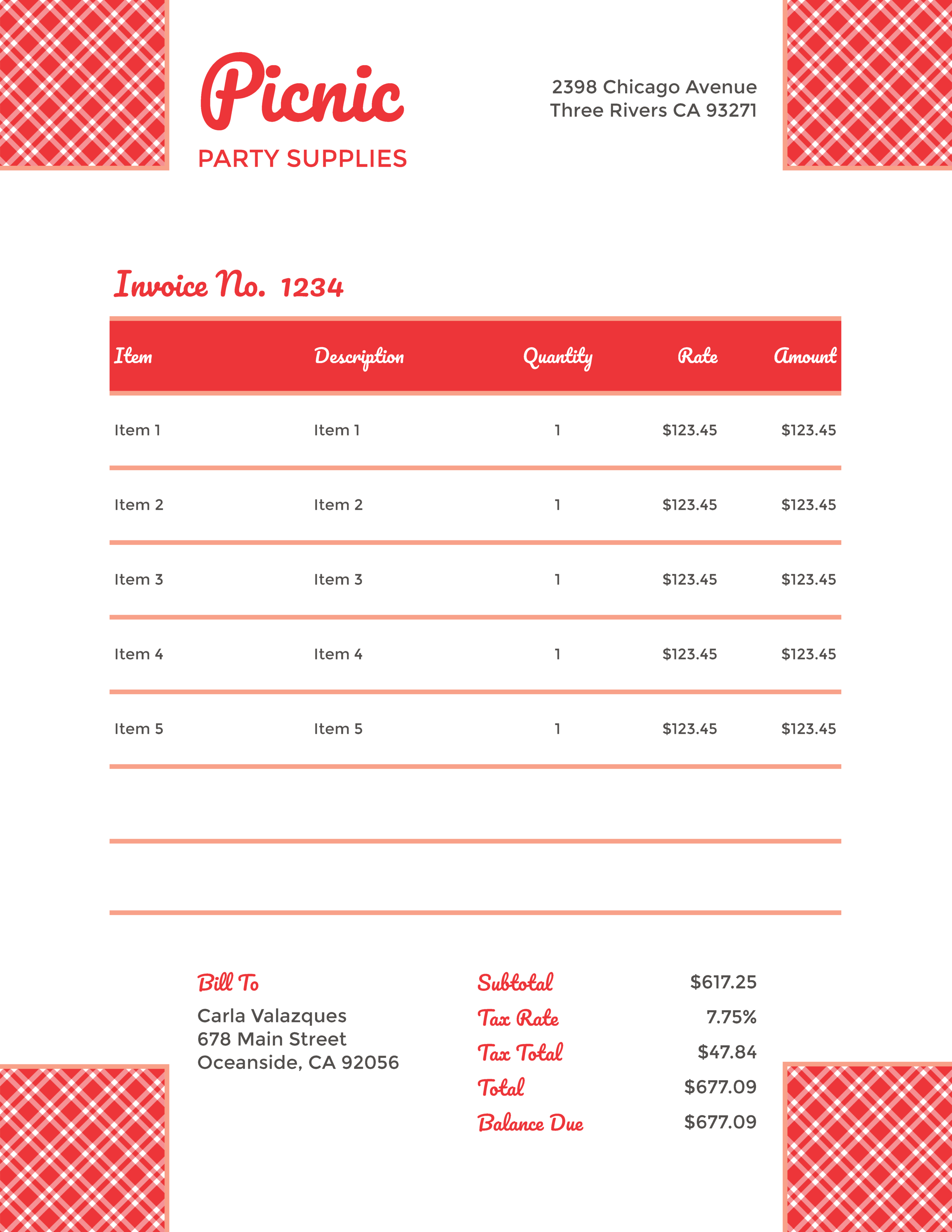 """Picnic Party Supplies"" Invoice Template from formfarm.ioe"