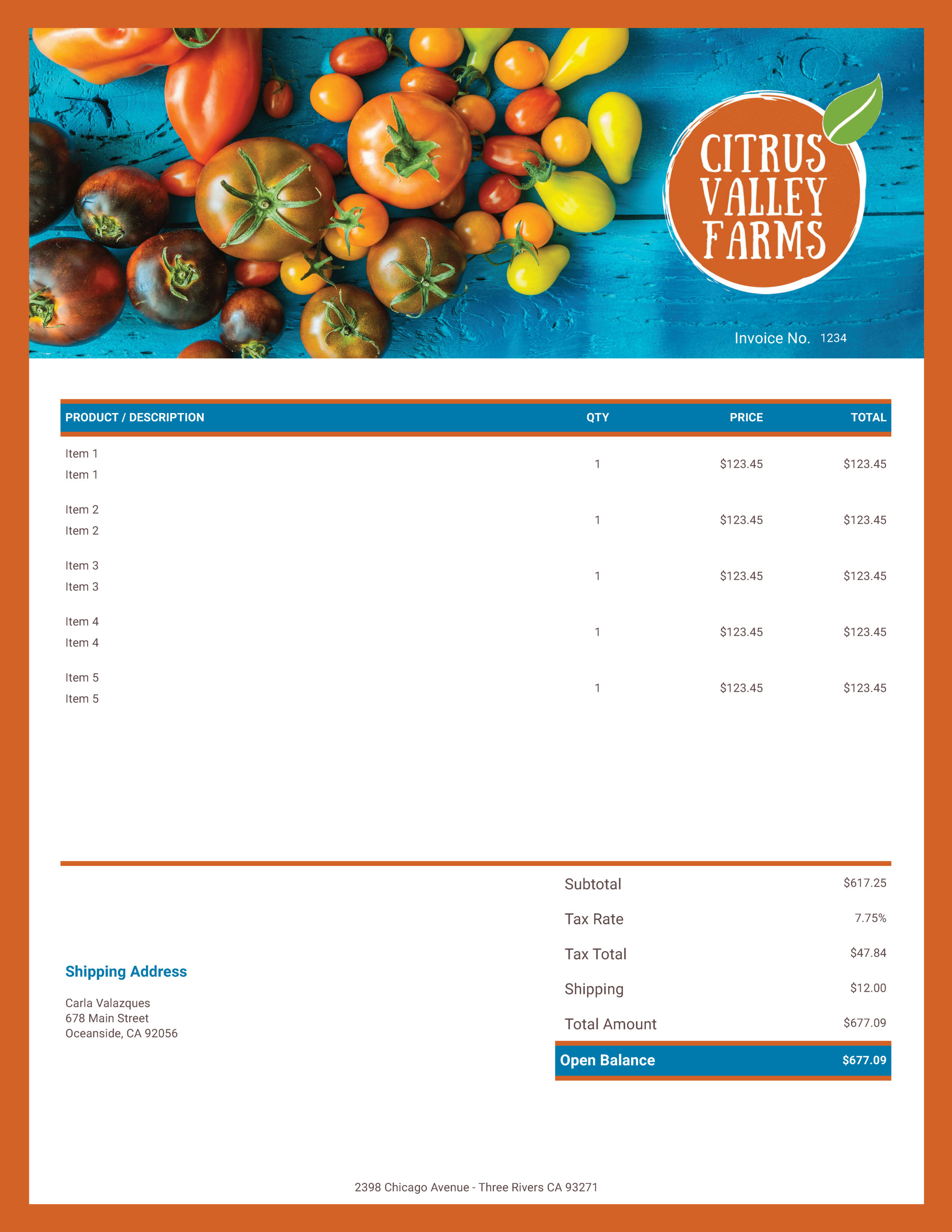 """Citrus Valley Farms"" Invoice Template from formfarm.io"