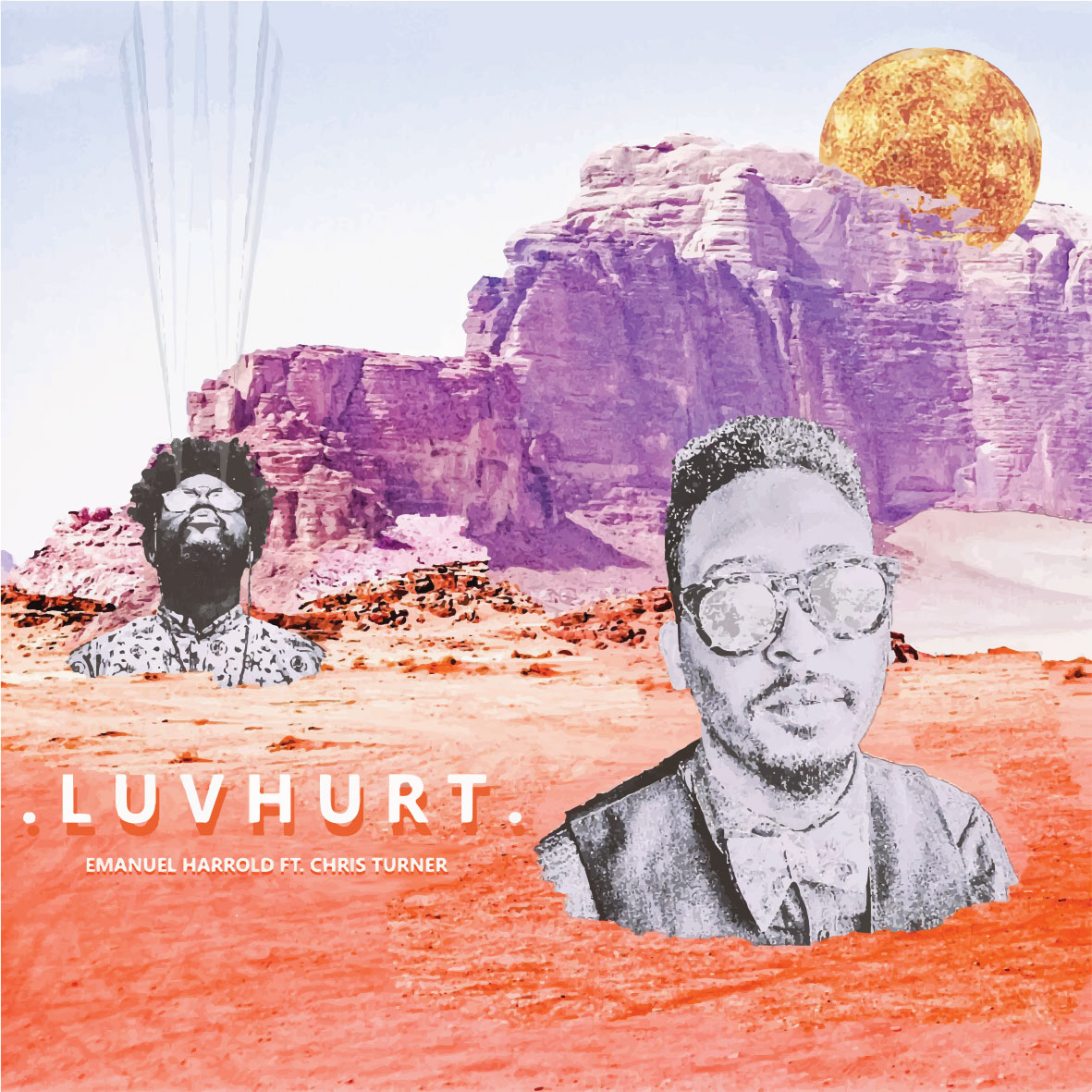 Single cover for Emanuel Harrold - LUV HURT ft. Chris Turner (Bilal),  Rocco Palladino  (D'Angelo), Andrew Baille (Cory Henry & The Funk Apostles).
