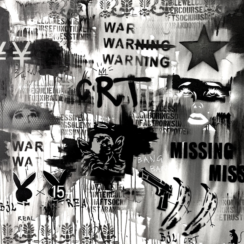 Black & White Yen  100cm x 100cm Mixed Media on Canvas 2017