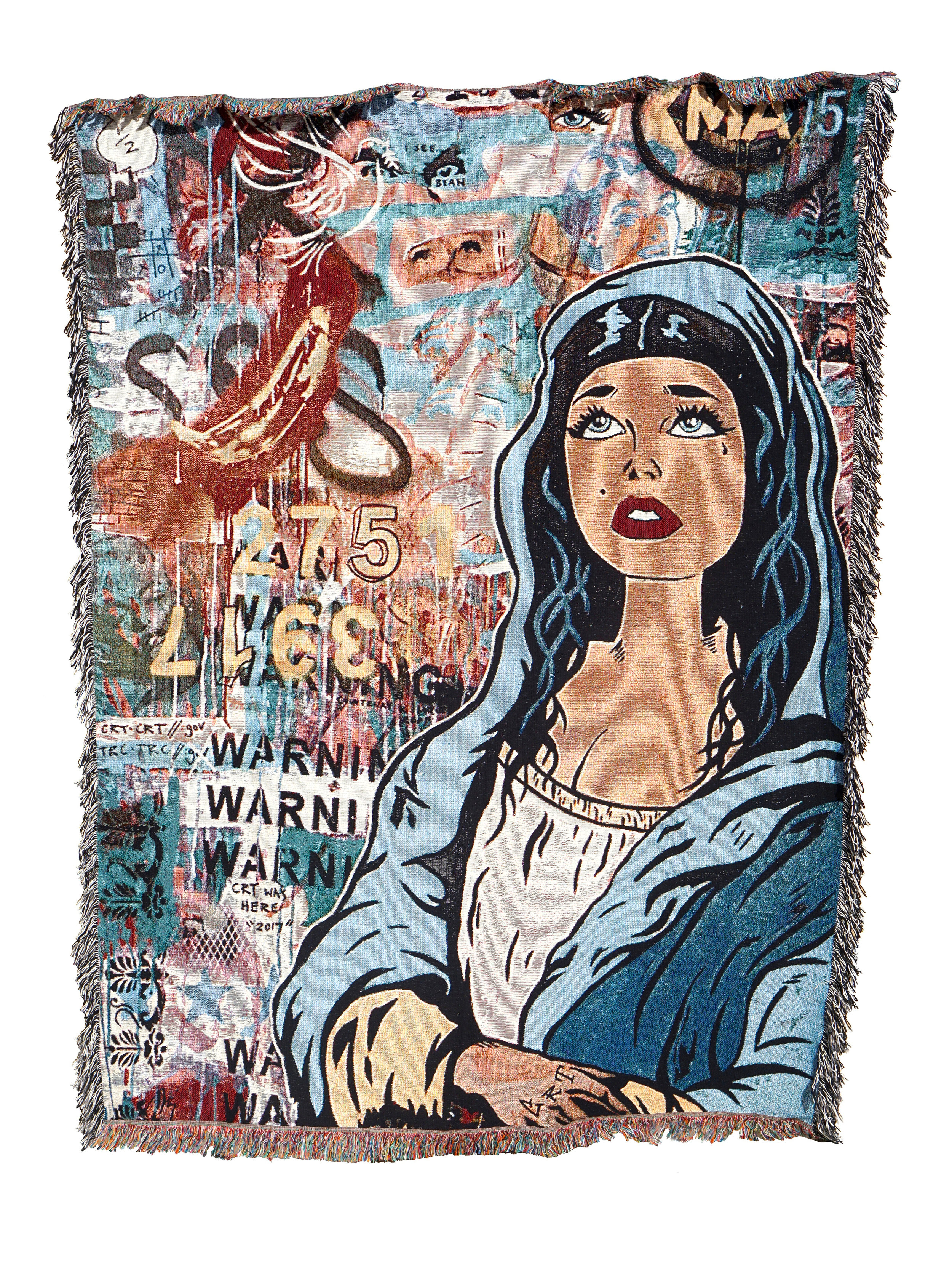 'Dusty Angel' Rug     'A Billionaire's Guide to Immortality'   152cm x 203cm 100% Cotton, Woven Rug printed 2018  Sold