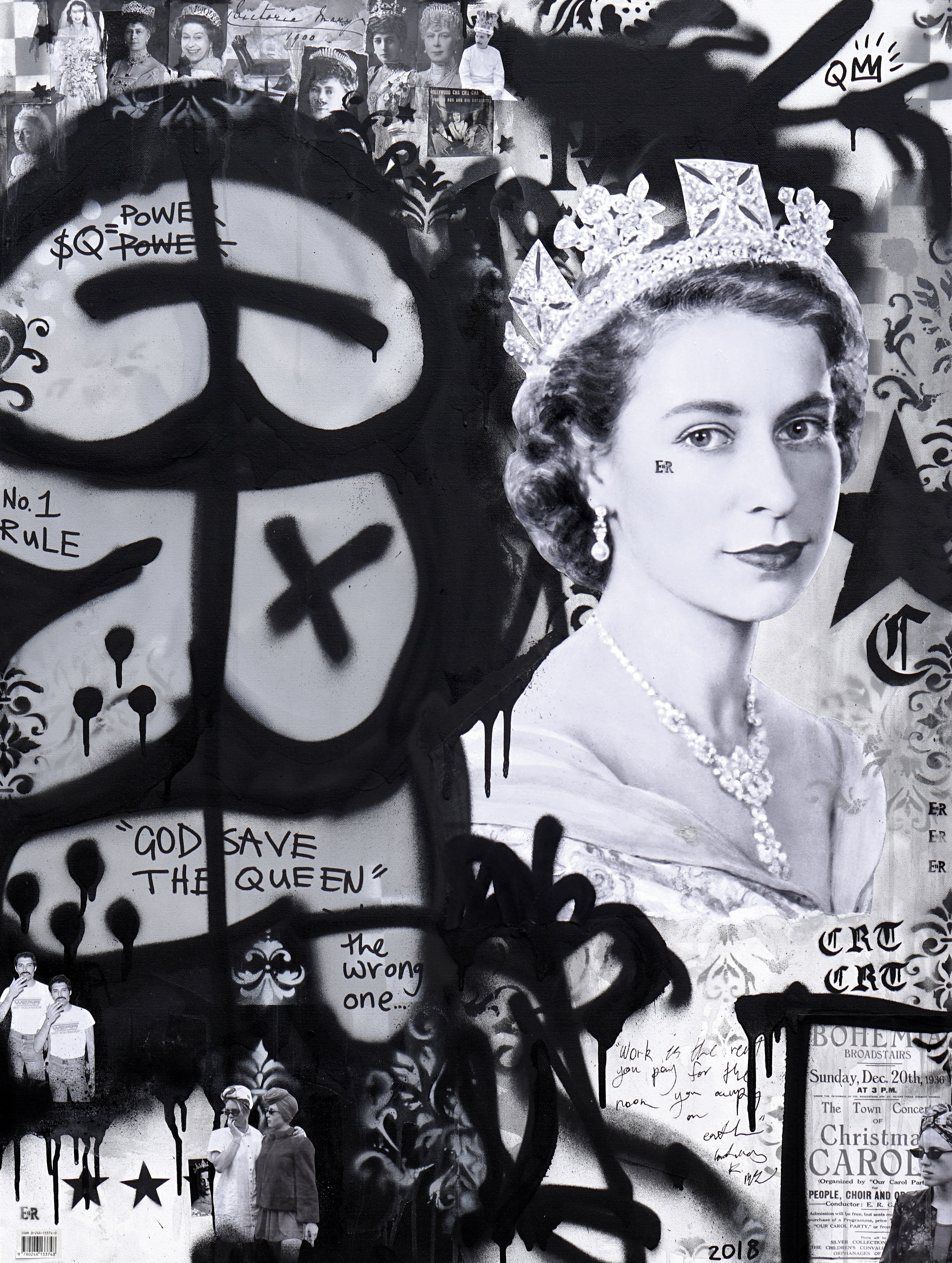 God Save The Queen  ' Crack Rock n' Death Toll'  81cm x 106cm Acrylic and Collage on Canvas 2018   Contact