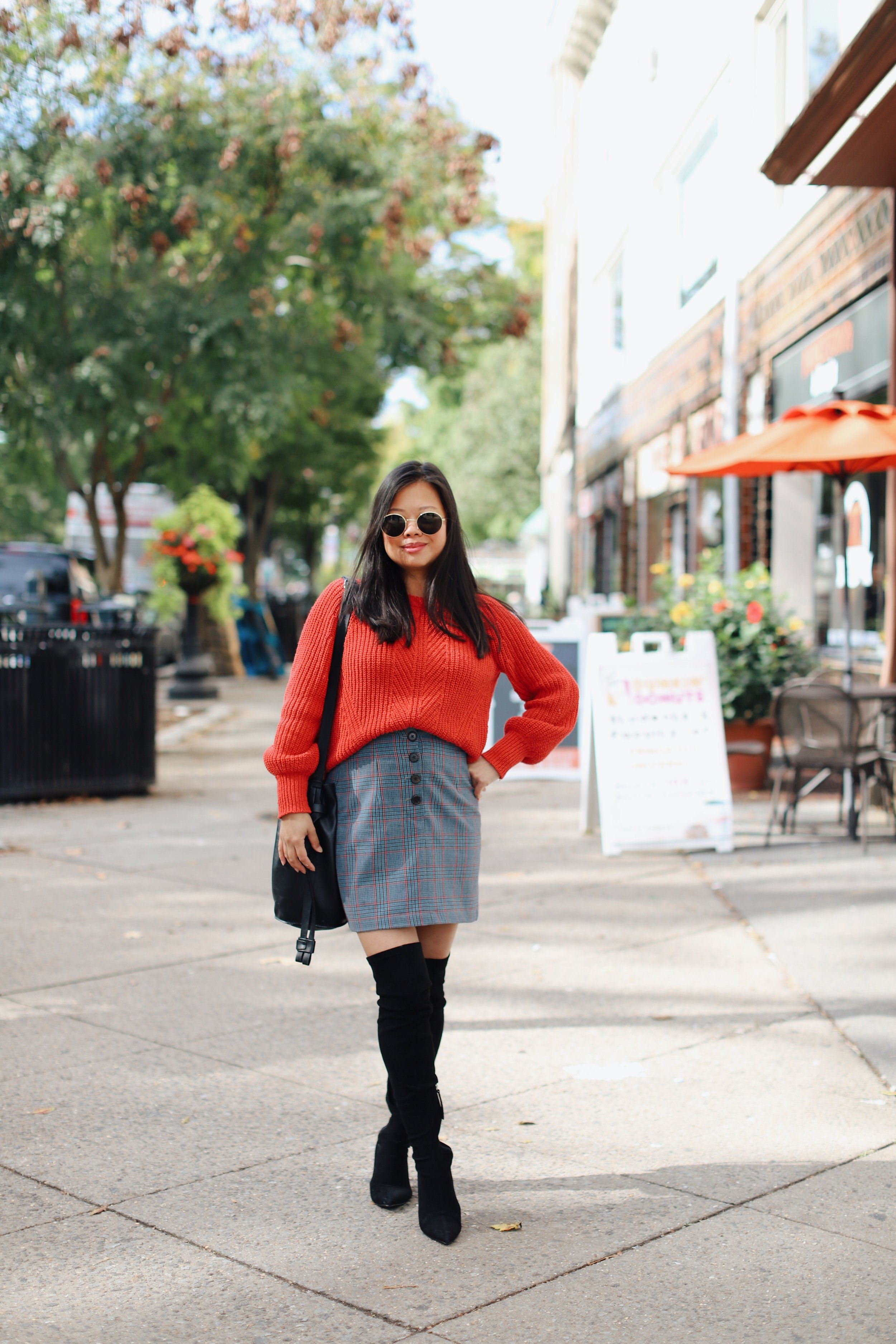 Wearing  Madewell sweater ,  Aritzia plaid skirt , Zara over-the-knee boots (old)