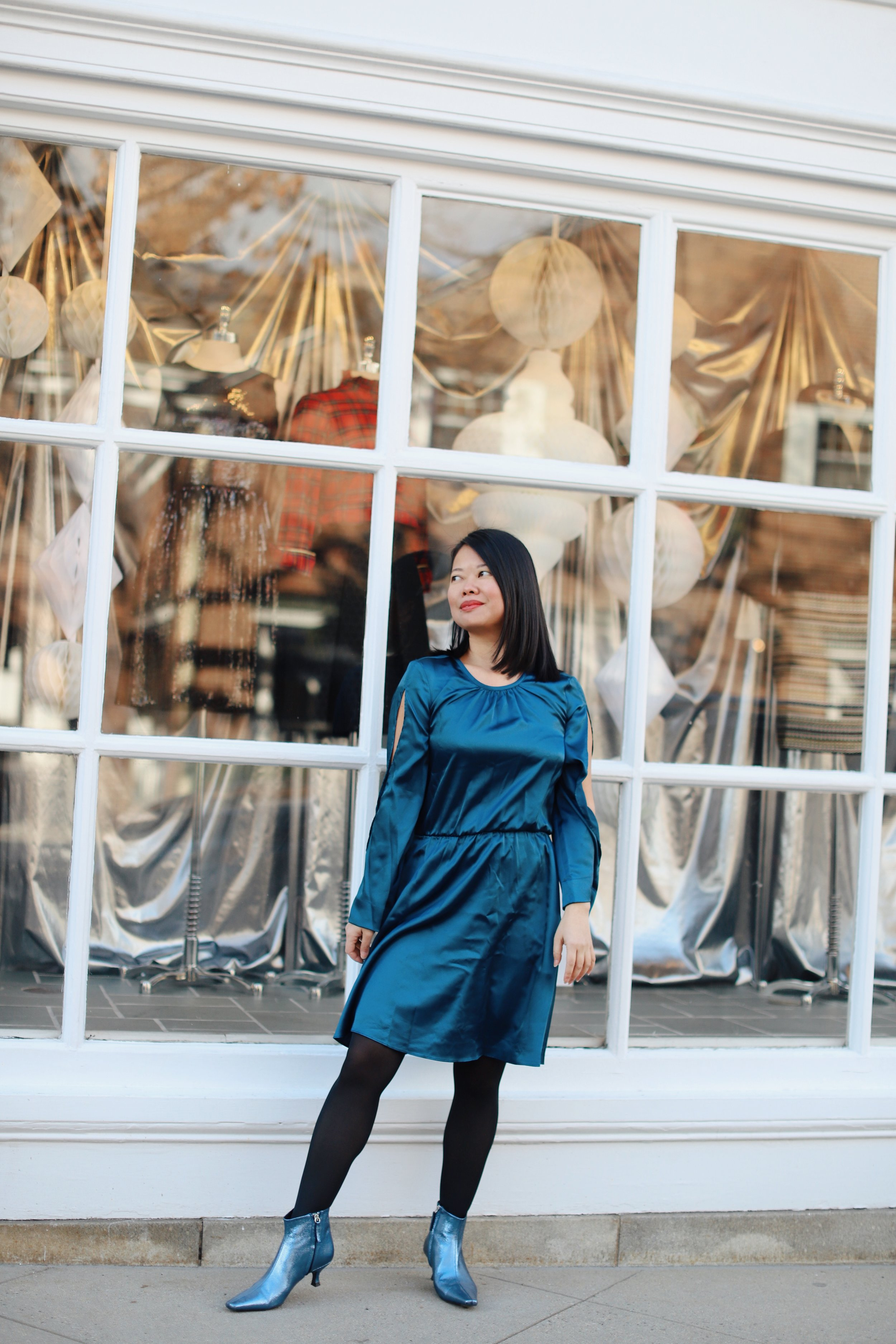 Wearing   Rachel Roy   dress from   T.J.Maxx  , Zara metallic booties (old, similar   here  ),   Rachel Zoe   tuxedo jacket from   Macy's   (similar   here  ), DVF wool coat from Nordstrom Rack (old)