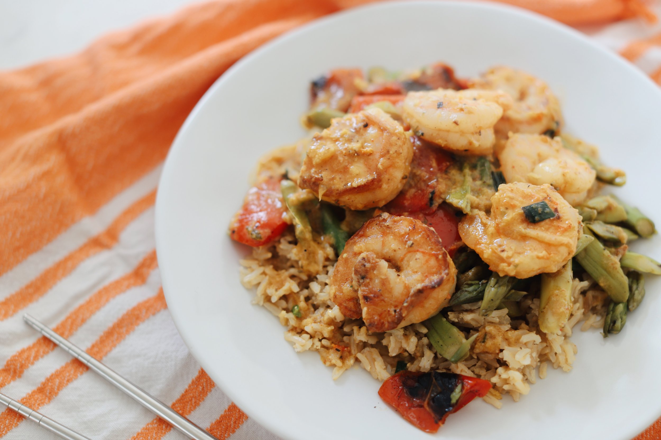 RealEats Red Curry Shrimp with Brown Rice and Grilled Asparagus