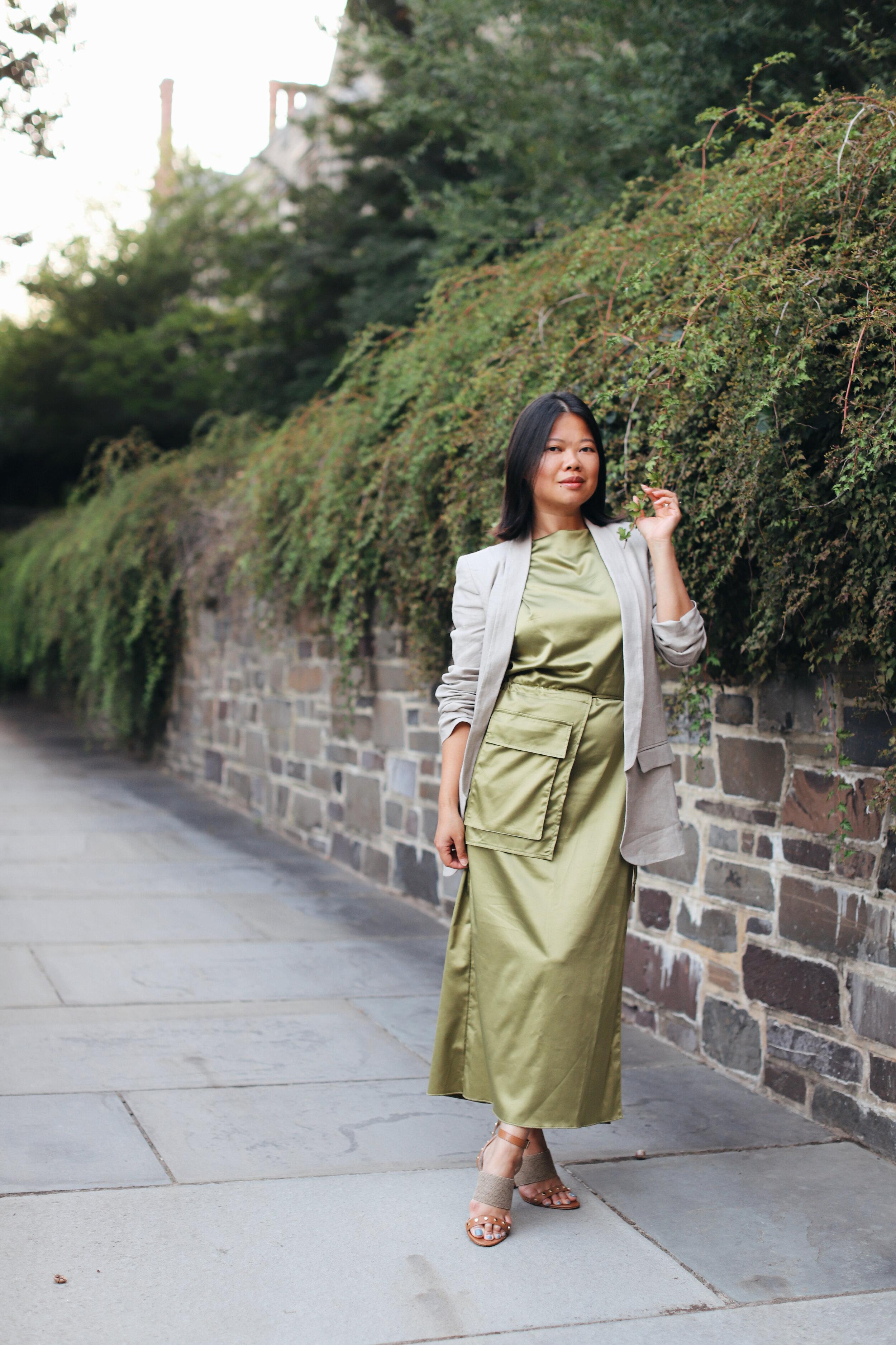 Wearing Zara linen blazer, Zara green utility dress, and Kinraden TO THE LAND ring.