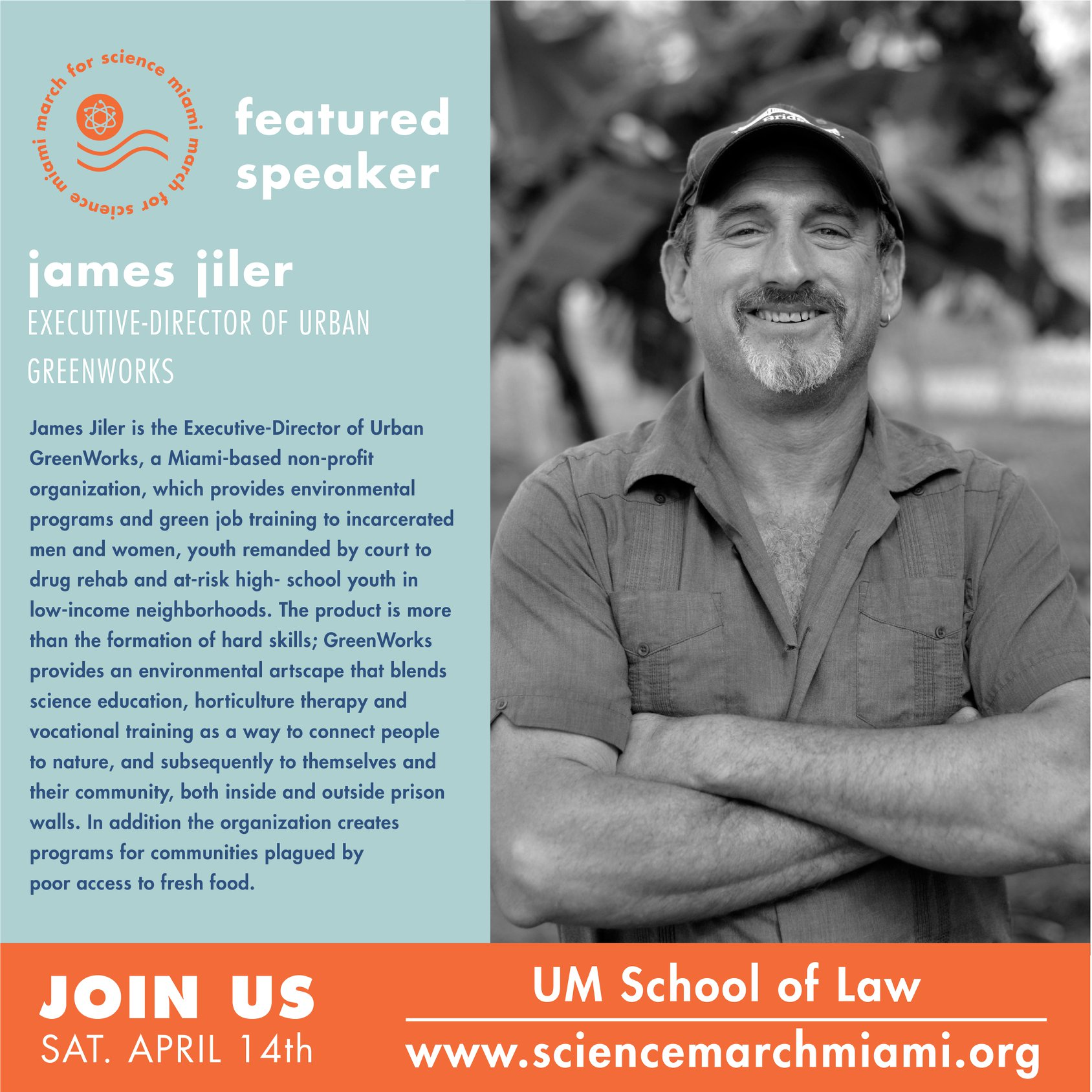 james jiler, m.s.   Executive-Director of  Urban GreenWorks , a Miami-based non-profit organization, which provides environmental programs and green job training to incarcerated men and women, youth remanded by court to drug rehab and at-risk high-school youth in low-income neighborhoods.
