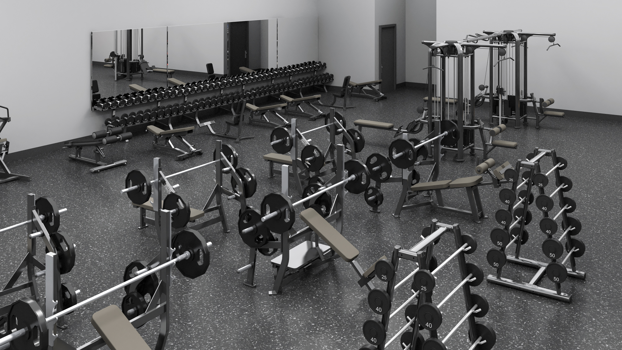 You will have a wide offering of free-weights, benches and more