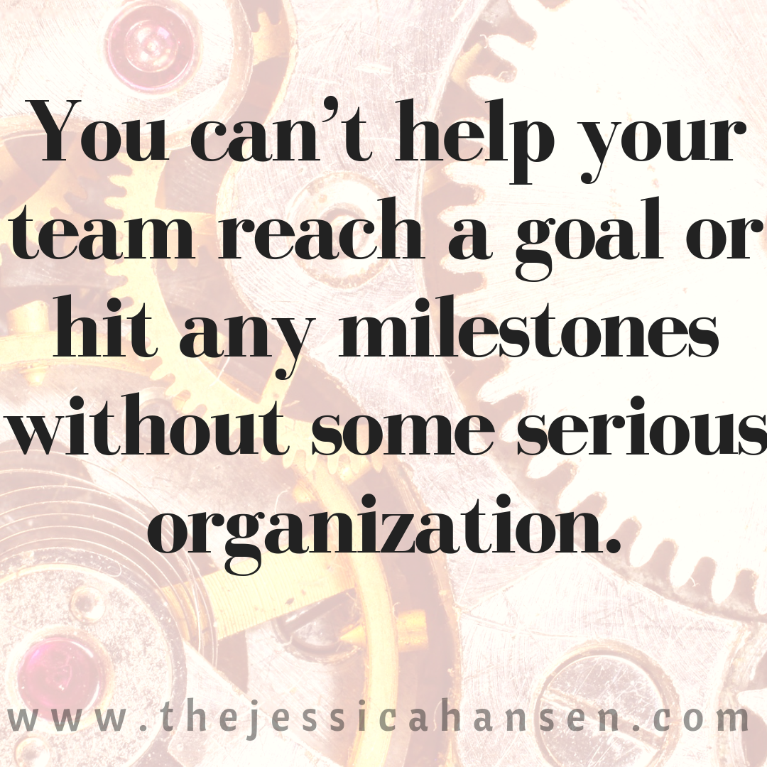 You can't help your team reach a goal or any milestones without some serious organization.