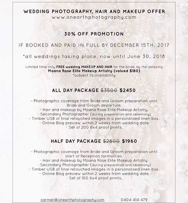 WEDDING PHOTOGRAPHY, MAKEUP & HAIR PACKAGE  I have linked up with the incredible photographer @on_earth_photography to offer all of our beautiful brides to be an amazing package ! Please contact: 0404414479 for more information or to book! SPACES ARE FILLING UP 💕