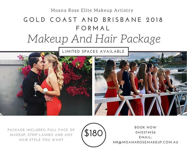 Is your formal next year ? Have you booked your hair and makeup ? Get in quick spaces are filling up fast! Tag someone who's formal it is in 2018 💕