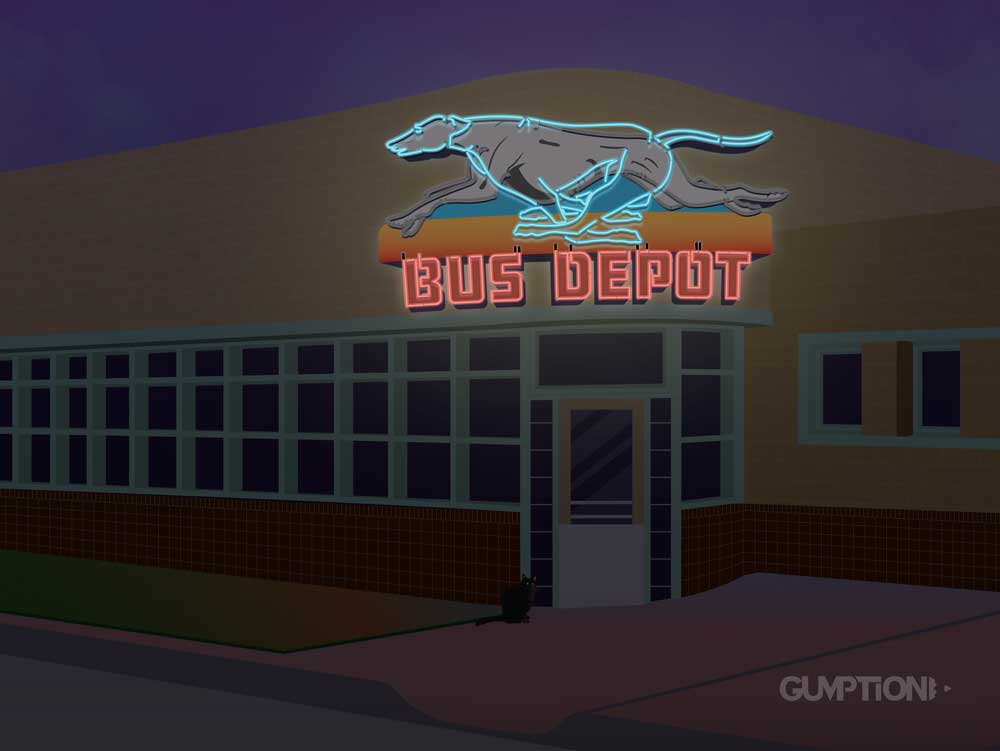 The Greyhound Bus Depot Neon Sign