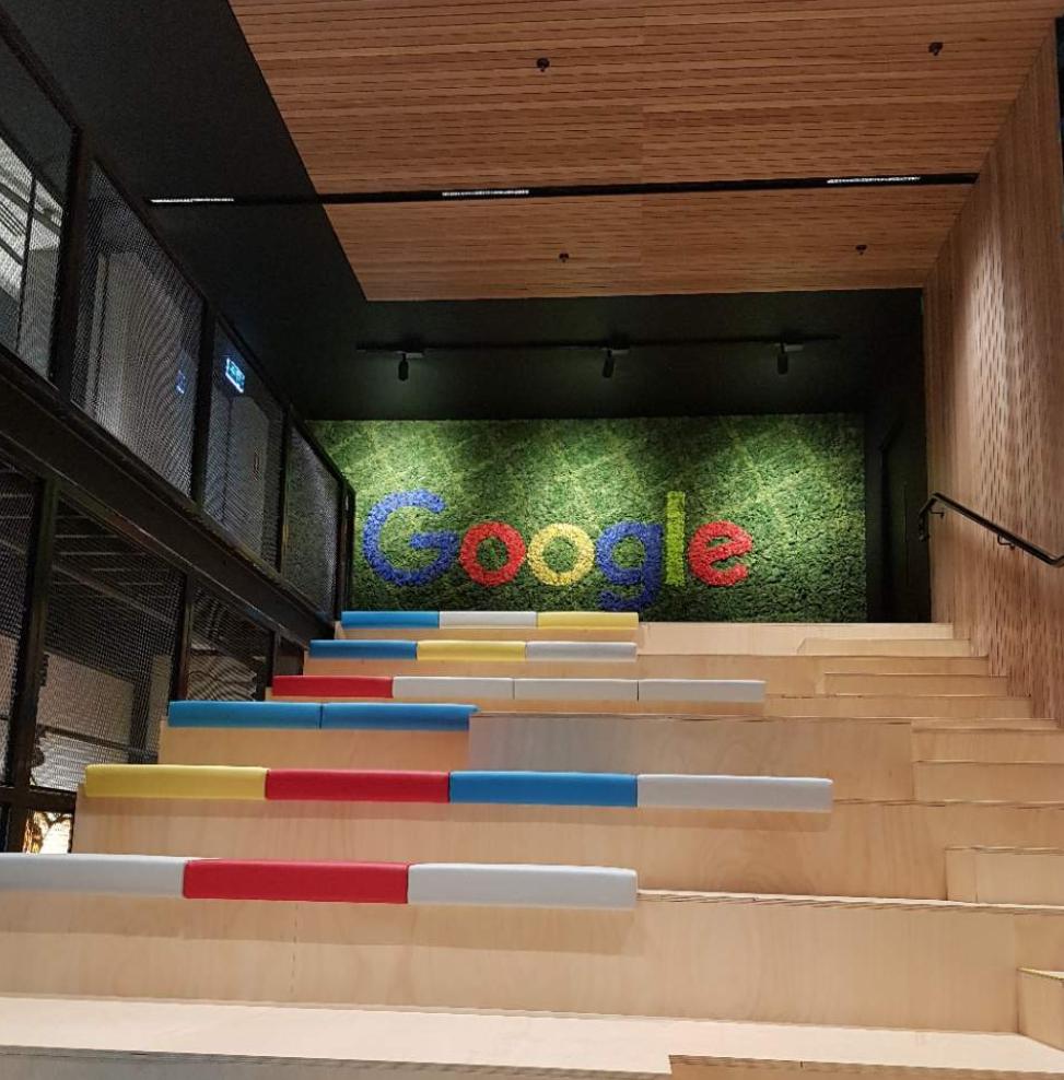 Google Head Office - Melbourne - Custom Moss Art Map of Melbourne for Google's new Head Office creates massive brand exposure and ensures the staff experience wellness through this natural zero-maintenence green design.