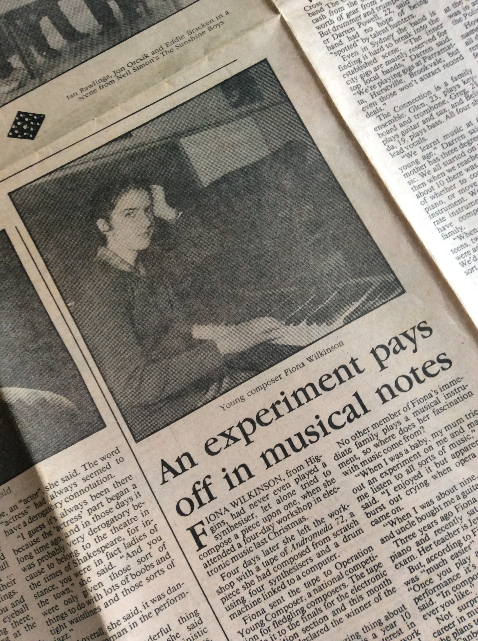 Some publicity about the Composers Competition in the Canberra Times in the 80s.   Photo by Fairfax Syndicate.