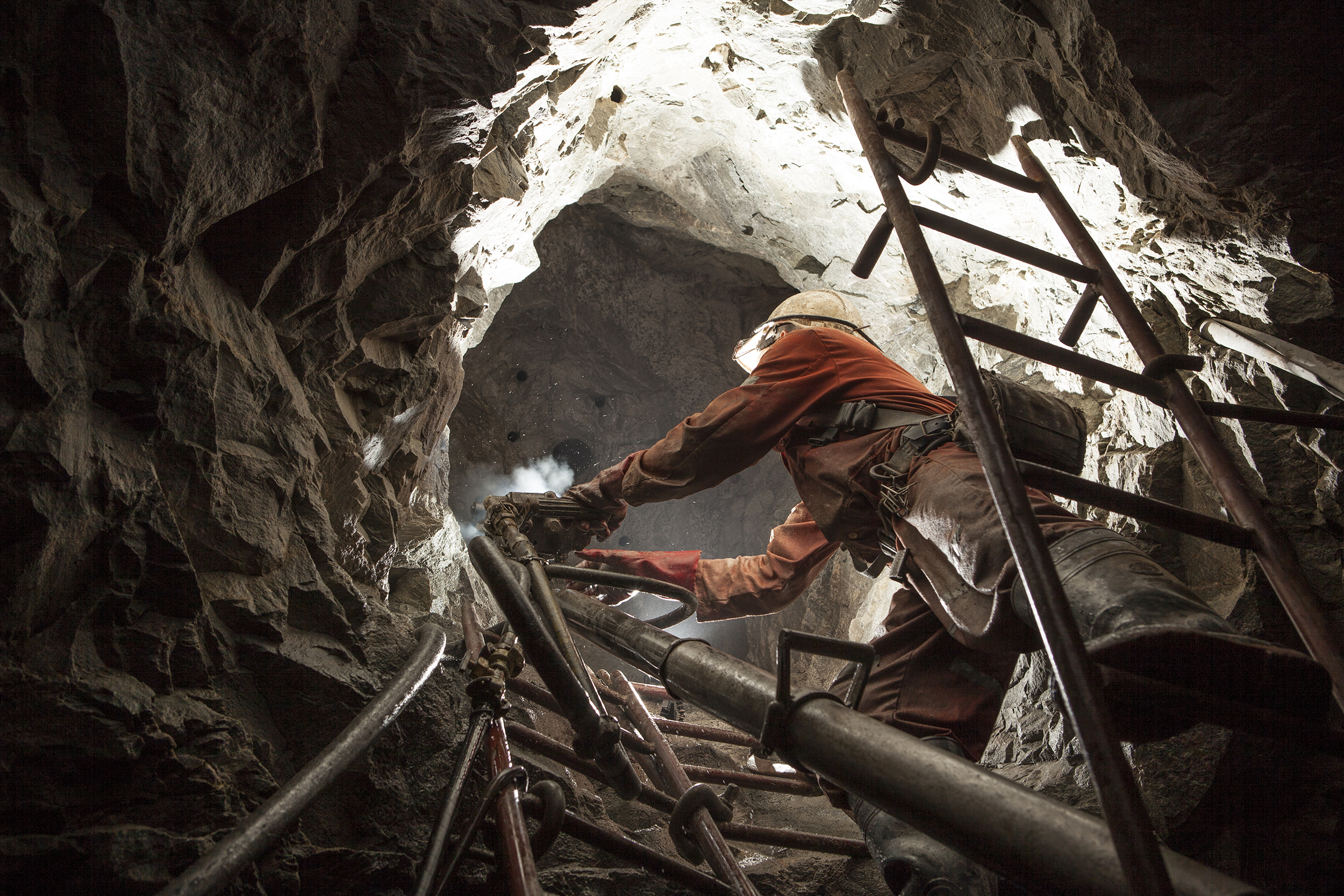 Airleg Miner Working a Rise, Chirano Gold Mine, Ghana, 2008. Edition of 3.