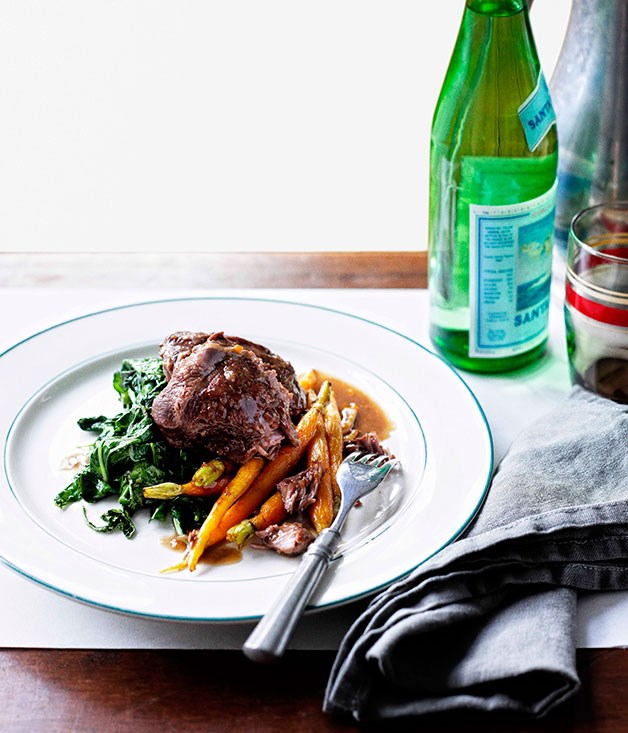 Wednesday - Braised beef cheeks with baby carrots and cavolo nero