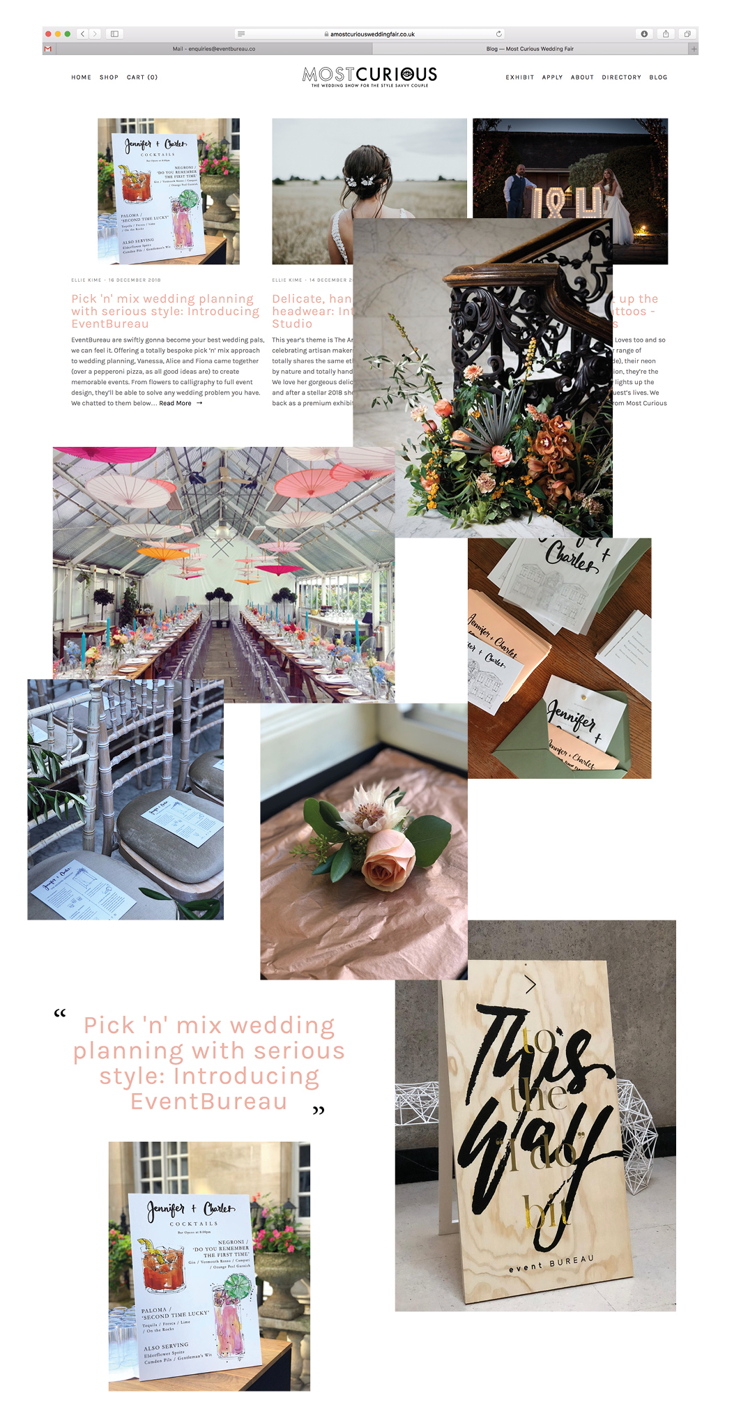 Most Curious Wedding Fair! - We spoke to Ellie from Most Curious and answered some questions. Here are some of our answers or take a look at the link below for the full article.The coolest/best moment of your career so far…Alice: My coolest/funniest moment would have to be me stood at Green Park station handing out free flower bouquets to very confused looking members of the public. They didn't understand why they were being given something so beautiful – for free.We absolutely hate to waste flowers and when we can, we will try and re-gift them. We've worked with a great charity called Floral Angels who are a London based charity who recycle donated flowers (from events; florists and retailers) and restyle them into beautifully re-arranged bouquets that are then gifted to members of the community who could benefit from a random act of kindness.Who or what inspires you?Fiona: We have all come from Design based backgrounds, so we are very much in the practice of being constantly on the look out for inspiration everywhere. Visiting galleries and exhibitions is a must for us. No matter how busy we get, there has always got to be time for a bit of culture. We are lucky enough to be London based as there is inspiration everywhere. More specifically – we get the most inspiration from meeting with our clients. We are then much more confident that we are designing to their tastes and not what is the done thing at any particular time.What's the most curious thing about your business?Vanessa: The idea of EventBureau was born over a terrible Pepperoni Pizza! We were on a girl's weekend in Amsterdam and had spent all of our money on tickets to the ballet, so we went for a quick Pizza beforehand. We were so bored with the food (and the comedy service) that we decided there and then that we would start our own business. I think I have the napkin in which we wrote it all down somewhere at home.https://www.amostcuriousweddingfair.co.uk/journal/pick-n-mix-event-design-eventbureau