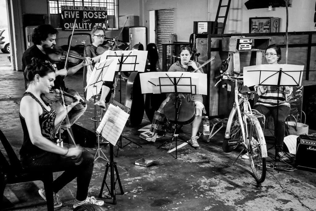 The ShhArt Ensemble: From Left Galina Juritz, Matthijs van Dijk, Sarah Evans, Nicola du Toit and Cara Stacey