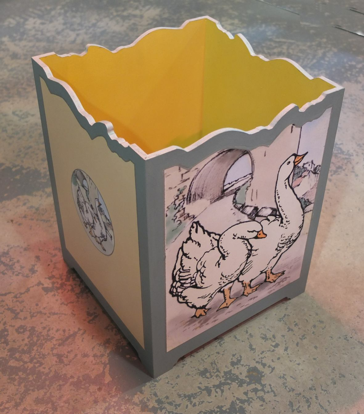 kate cochrane website - Geese waste paper bin.jpg