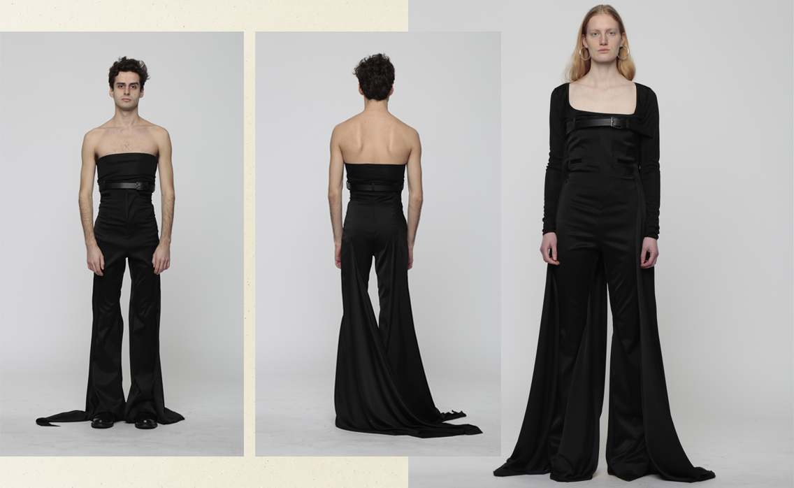 High-waisted trousers in double stretch satin