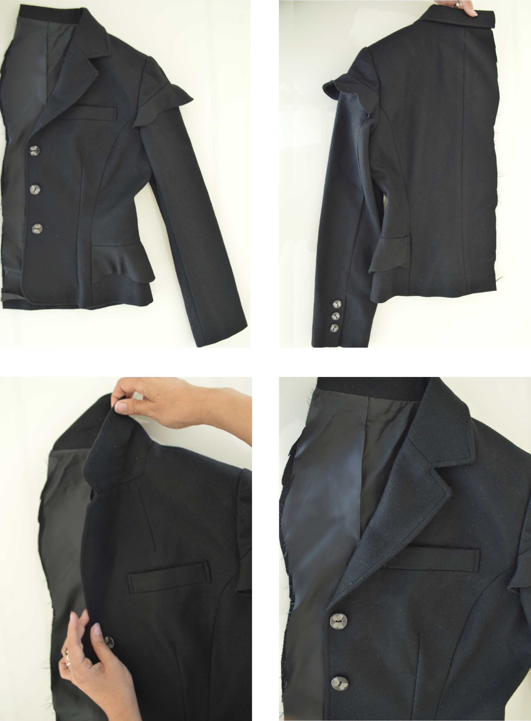 First jacket made at Bunka Fashion College - 40s inspiration - Wool Melton and wool crêpe (2009)