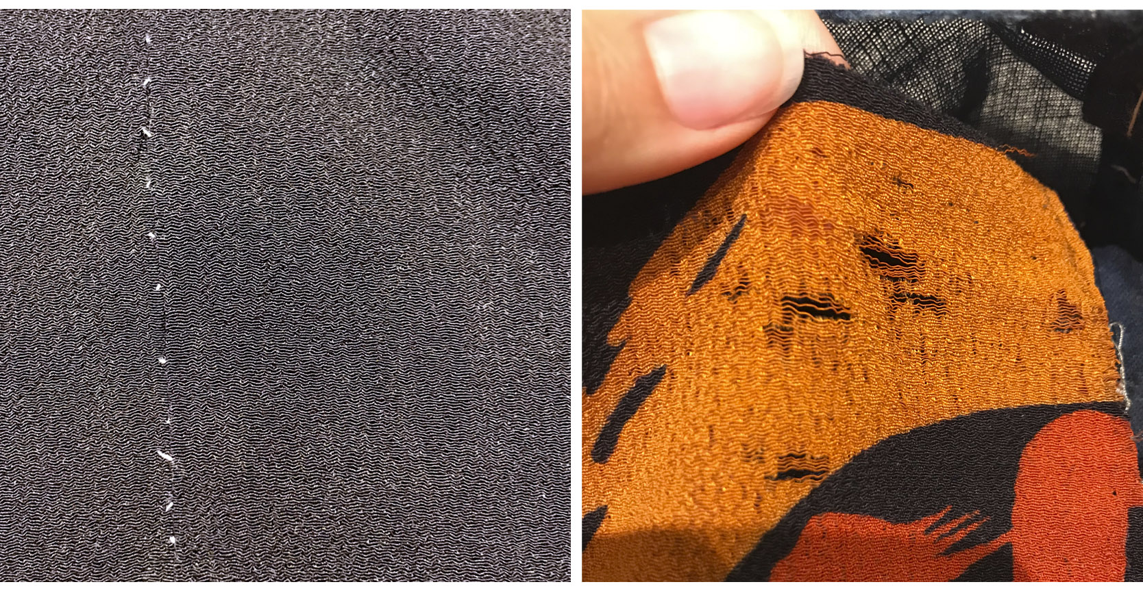 Problem areas: light gray stitched showing in some of the seams; fabric going threadbare in a few places. (Also, click to see a larger image if you don't know what chirimen fabric looks like)