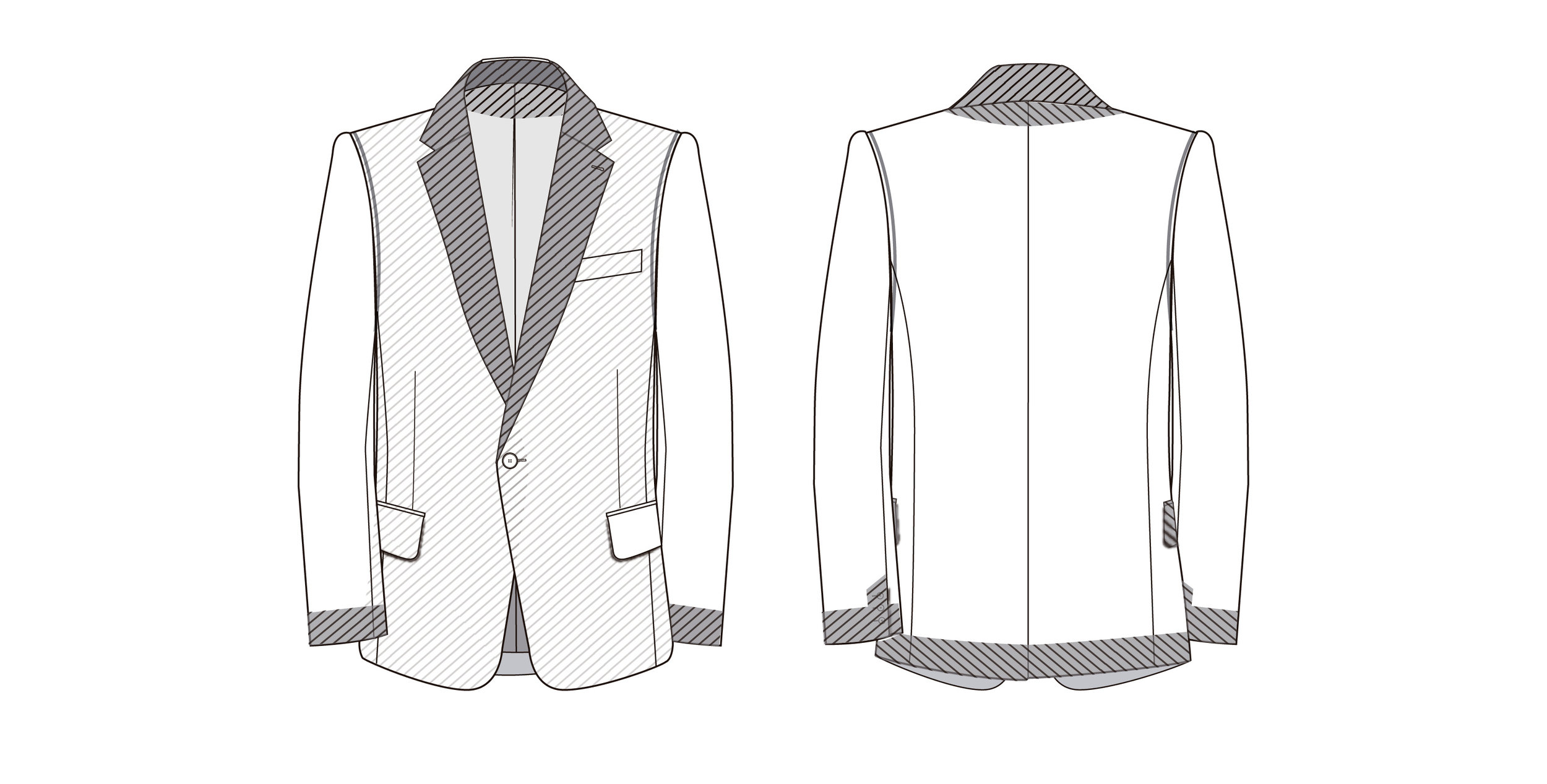 Interfacing placement on a tailored jacket