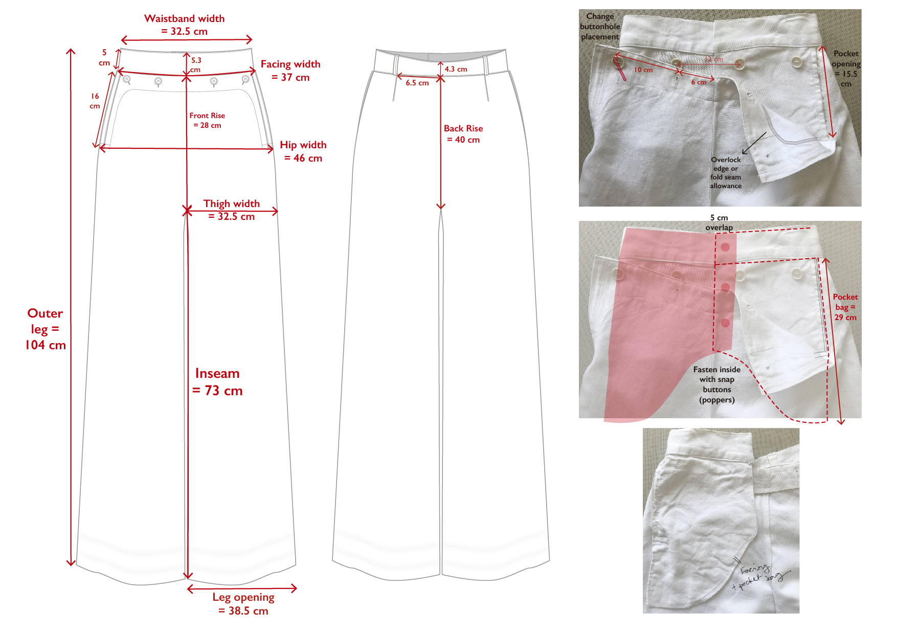 French sailor trousers - Measurements and some construction details:  not quite a tech pack that you can send straight to the manufacturer, but enough to start talking with your pattern cutter or sample maker.