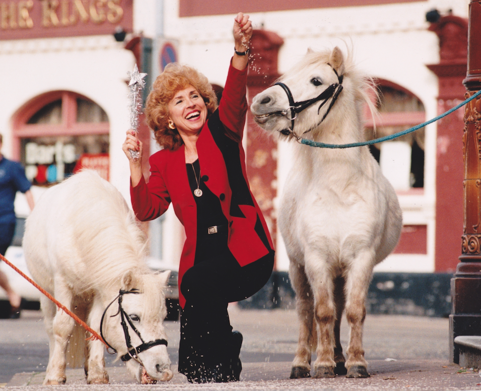 Sandra with Bertie and Harry the pantomime ponies, in October 1995