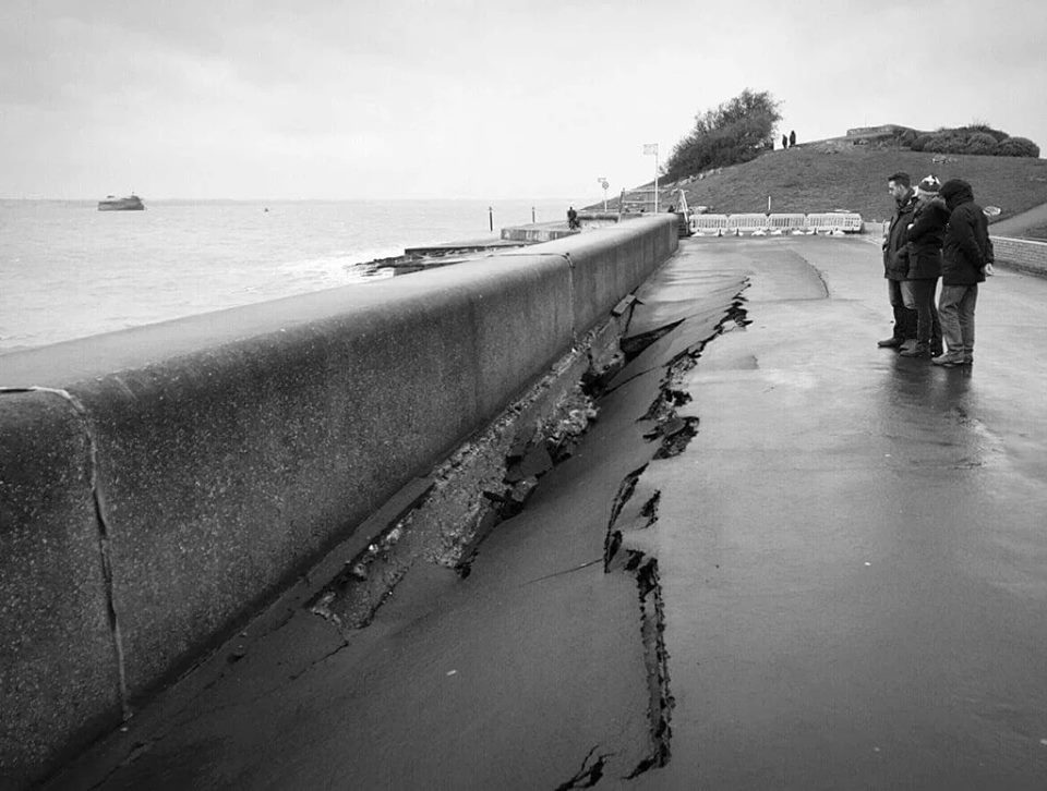 Portsmouth photographer  Jon Neil  took this photo of the collapsed sea wall foundation
