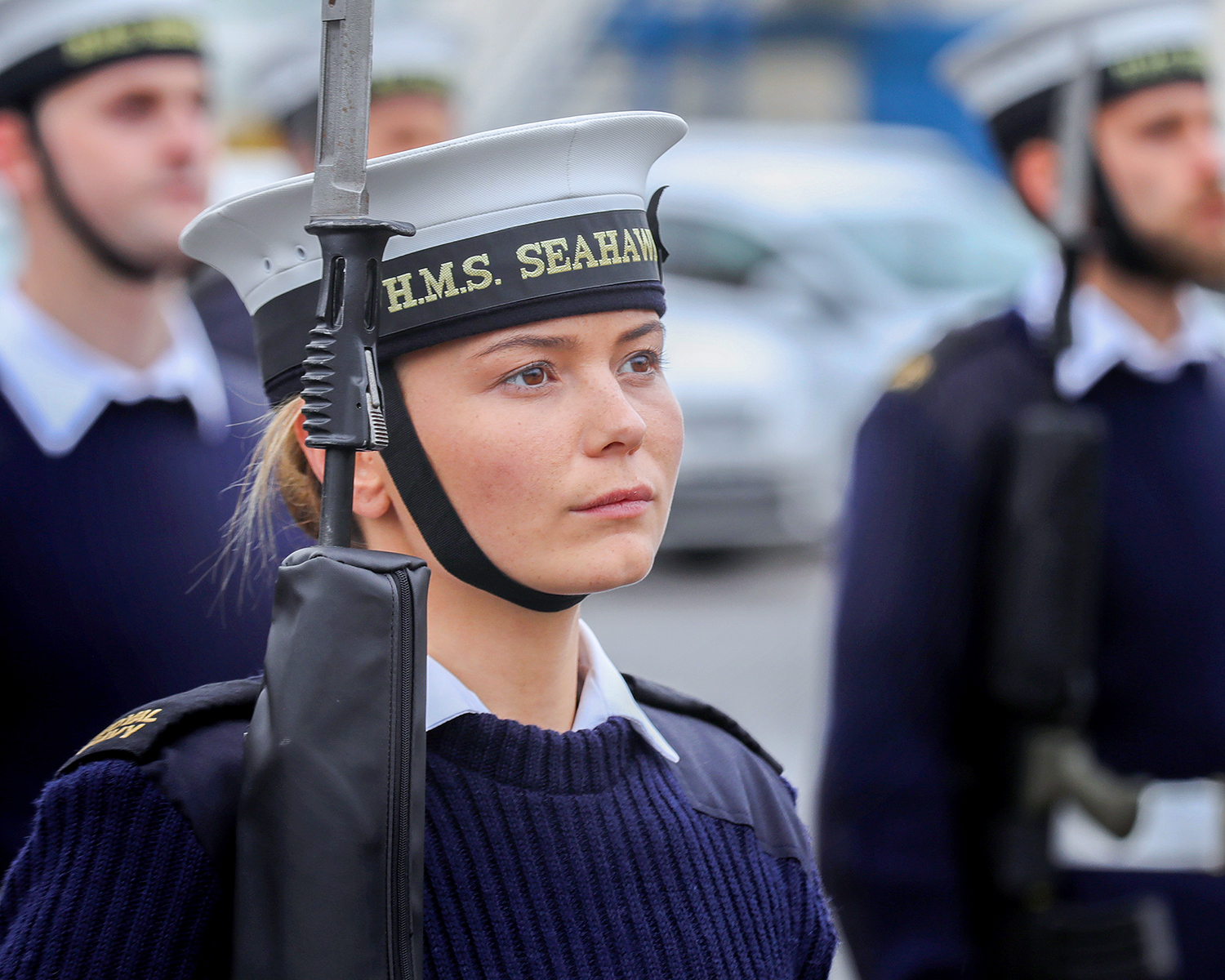Able Seaman Alexandra Stacey stood to attention during the practice drill, for Change of the Guard